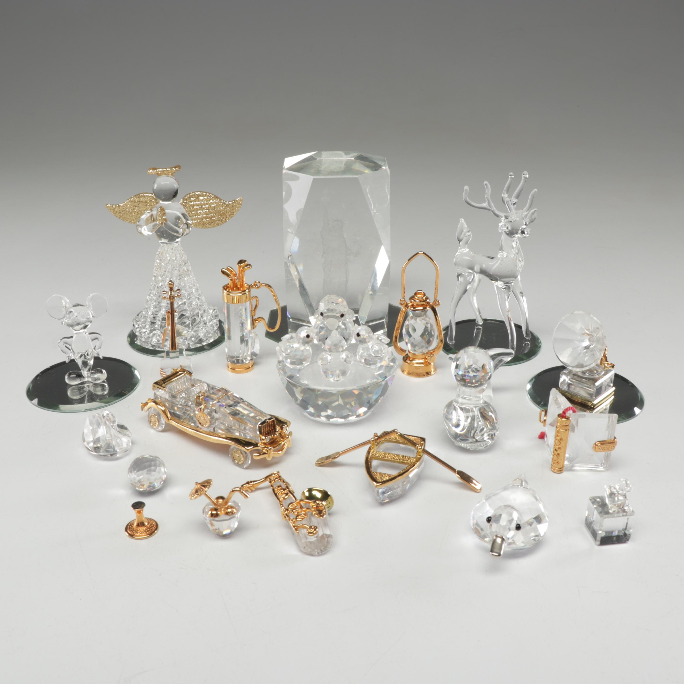 Swarovski Crystal Miniatures with Glass Christmas Figurines and Pocket Mirrors