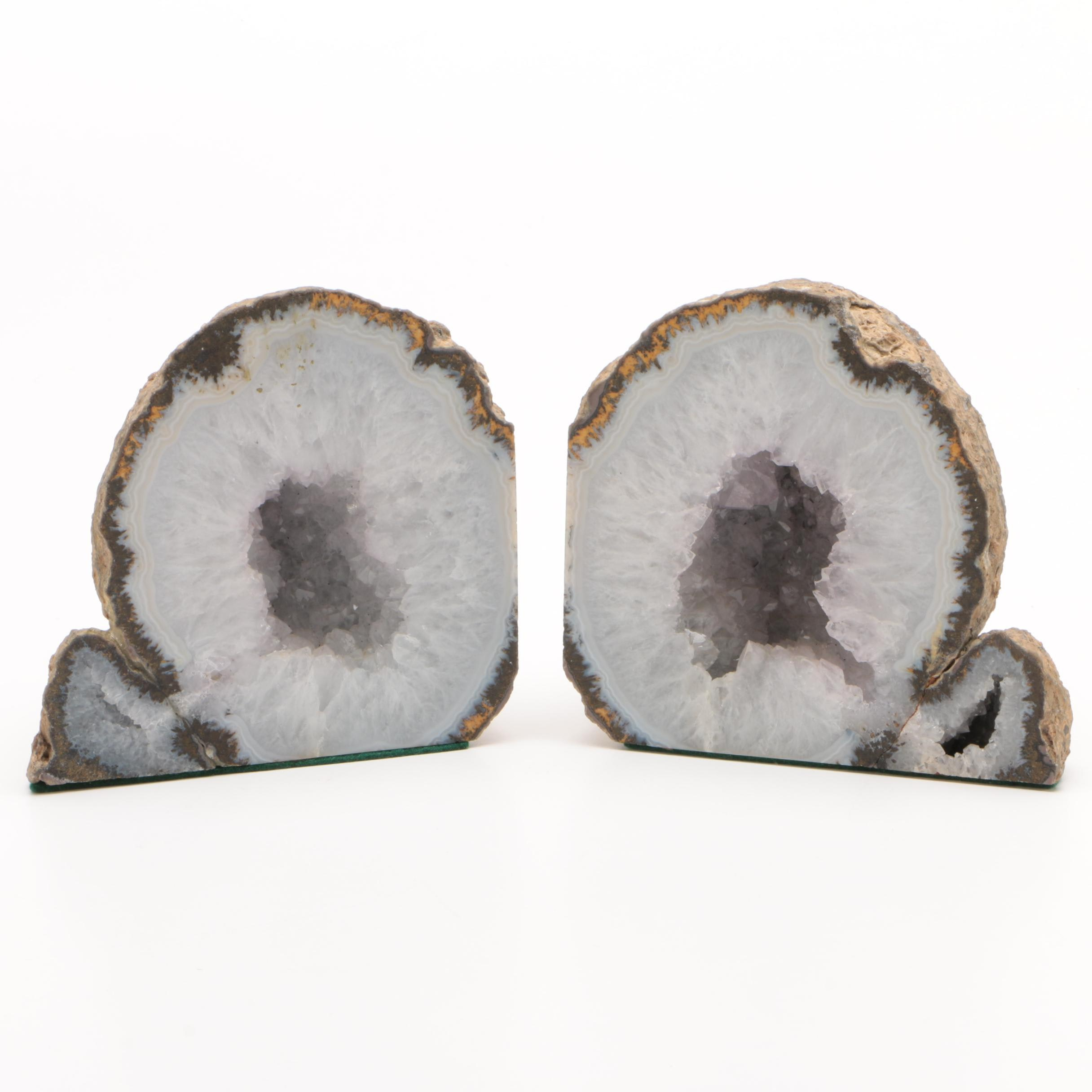 Pair of Polish Agate Geode Bookends