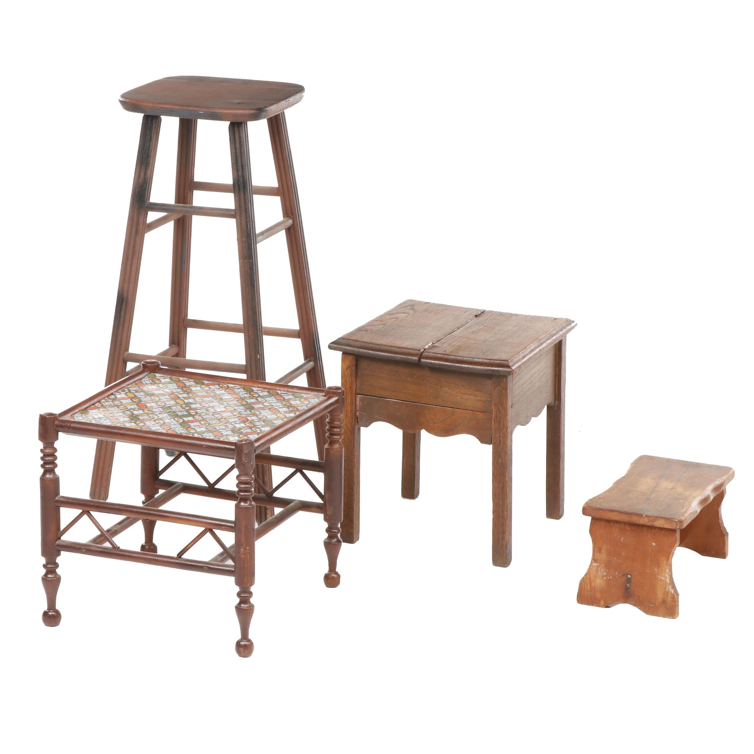 Four Wooden Stools, Including Barstool and Compartment Stool