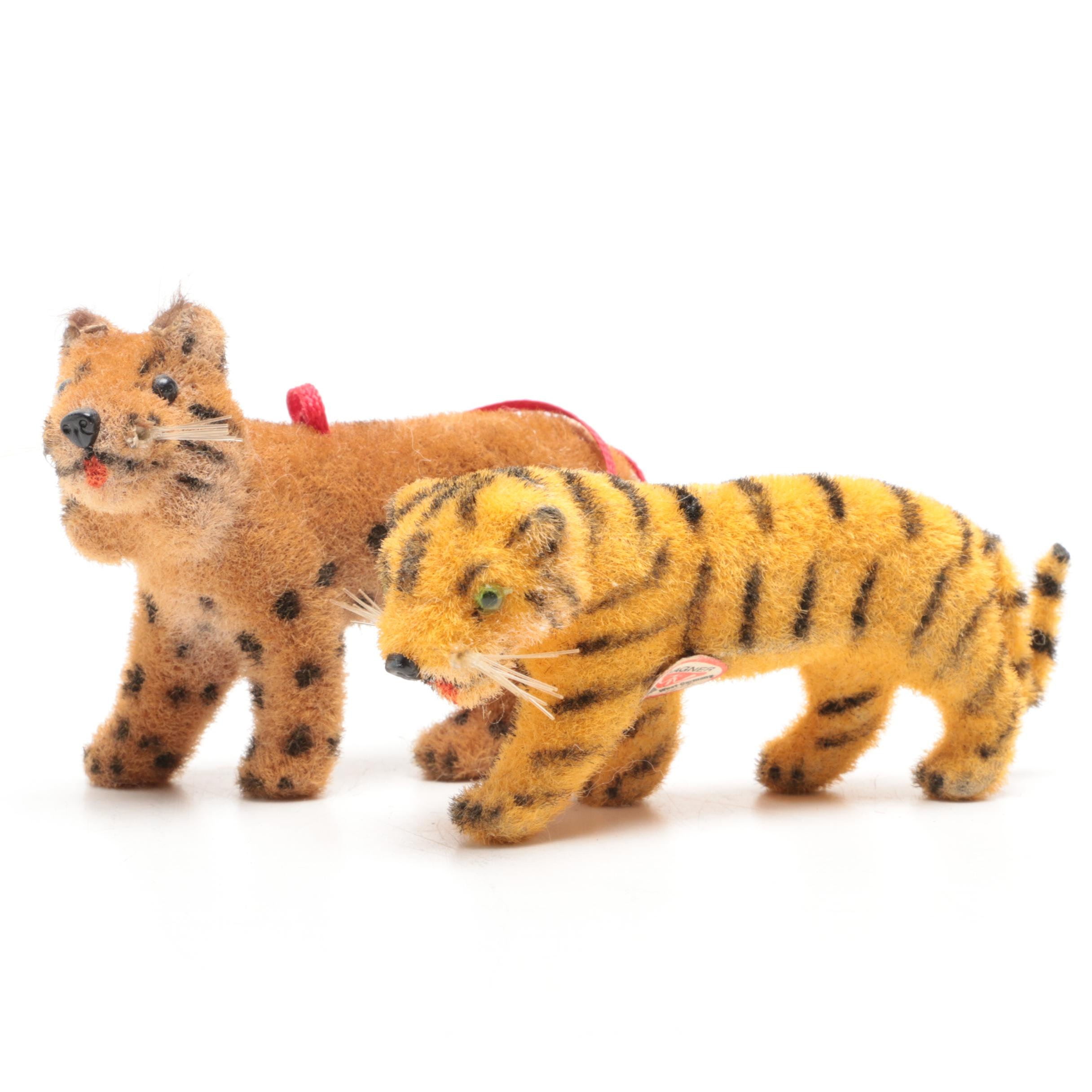 Pair of Wagner Felted Tiger Figurines
