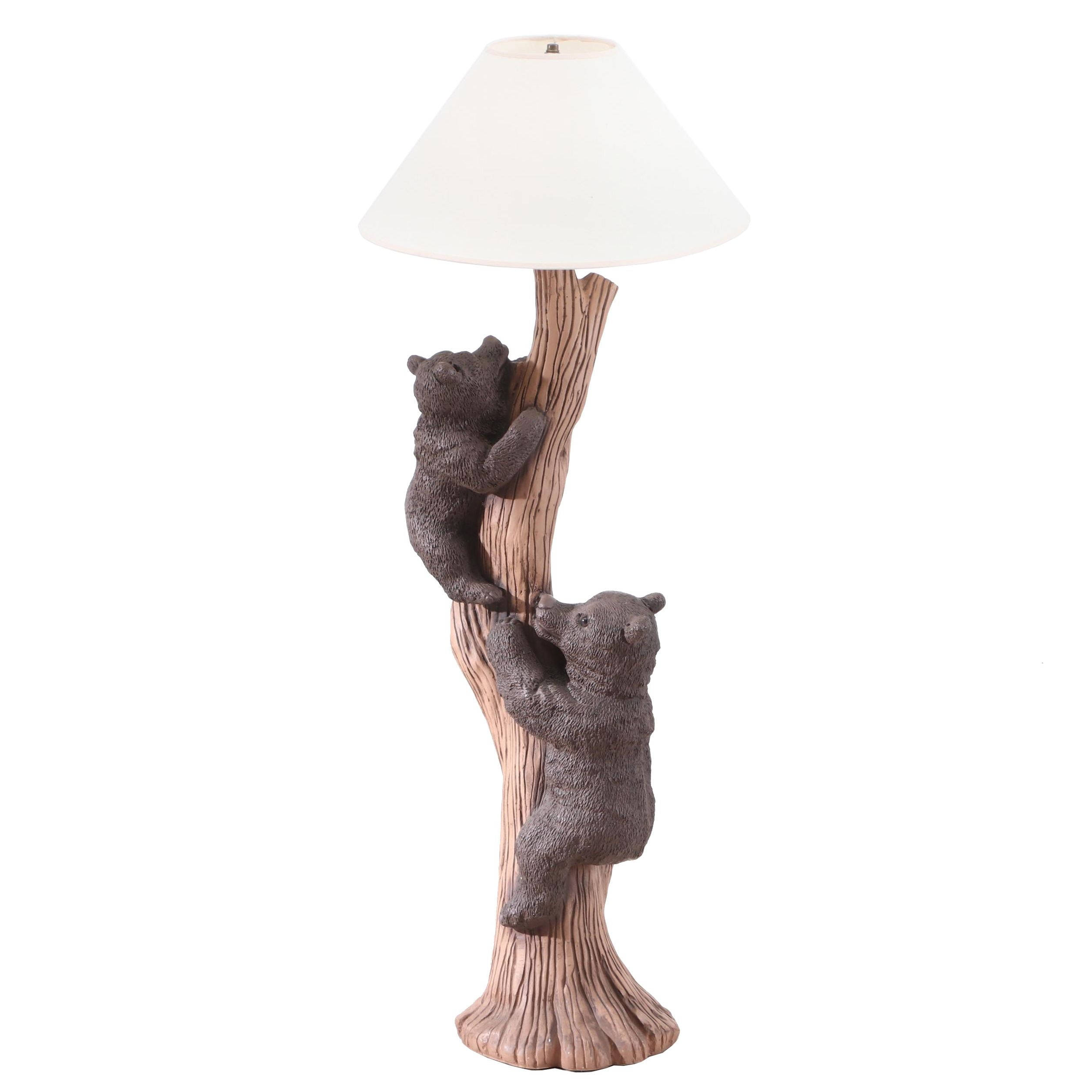 Contemporary Figural Bear Cubs and Tree Composite Floor Lamp