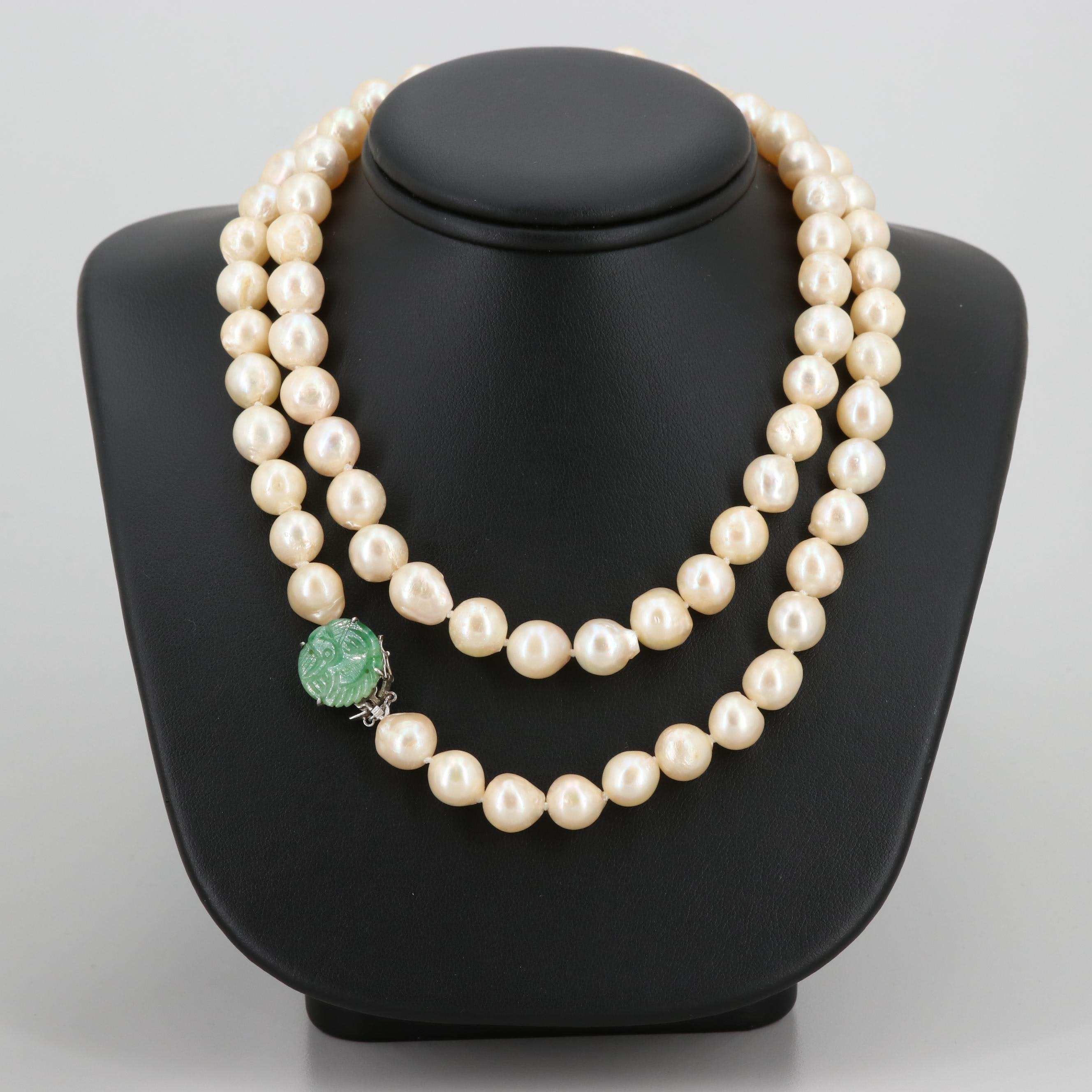 Cultured Pearl Bead Necklace with Jadeite and Silver Tone Clasp