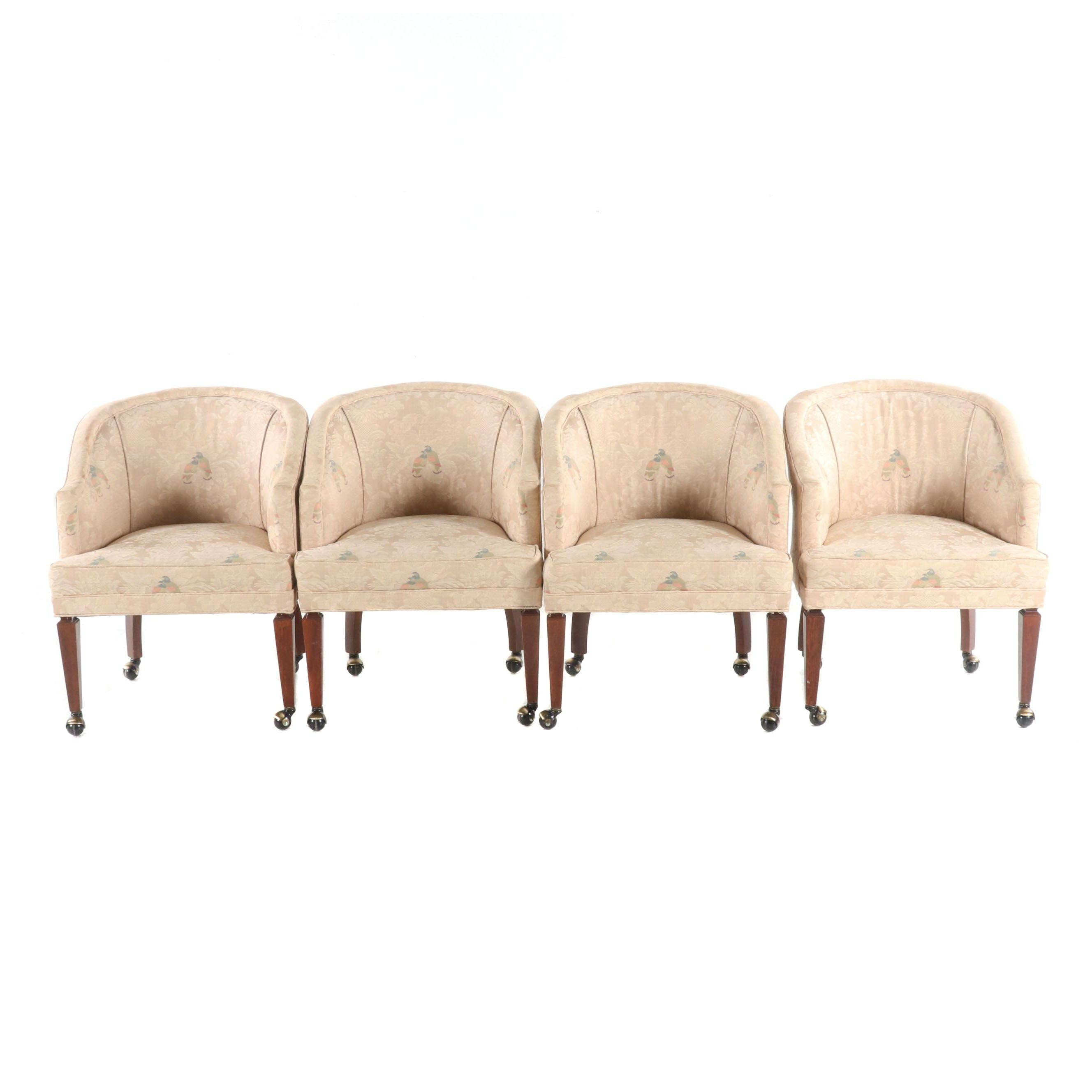 Set of Four Contemporary Upholstered Barrel Back Poker Table Chairs
