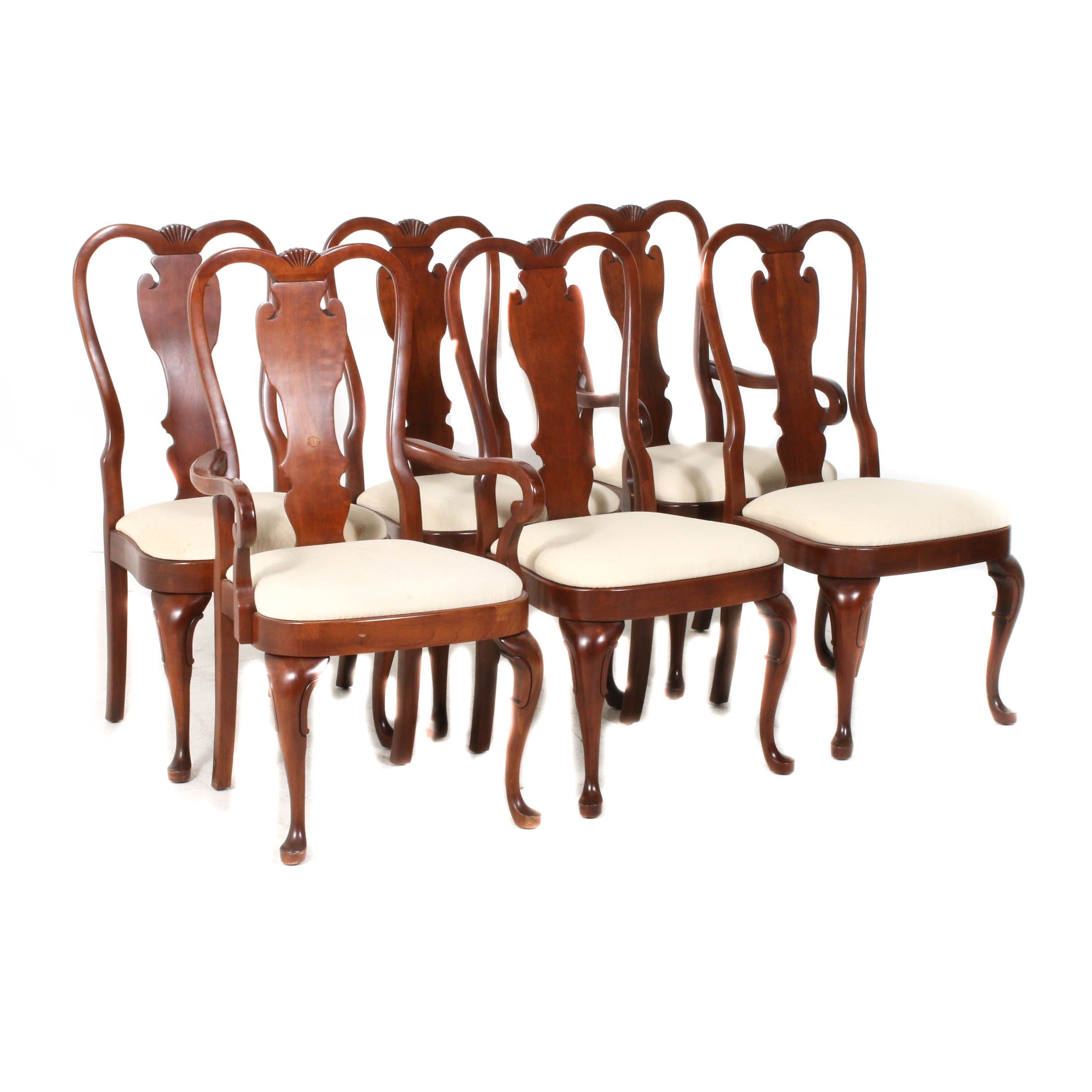 Bragg Furniture Upholstered Wood Dining Chairs, circa 1988