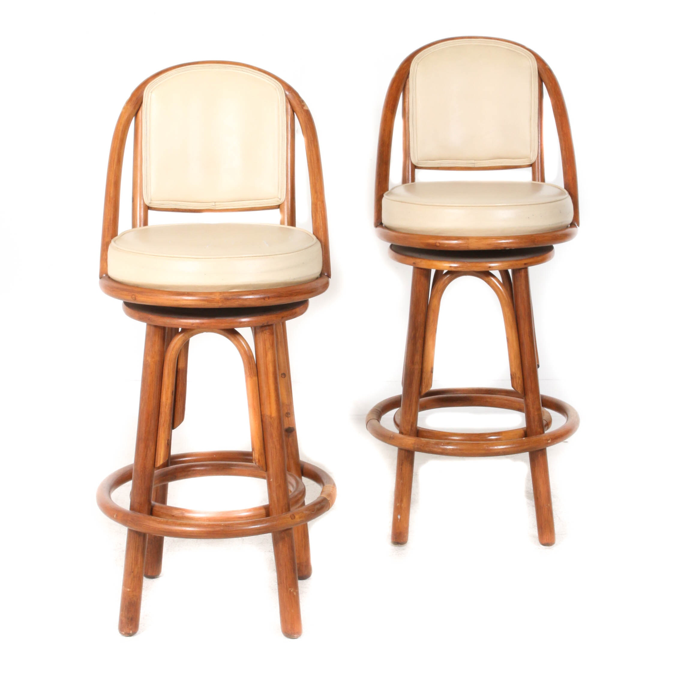 Contemporary Faux Leather and Wood Swivel Bar Stools