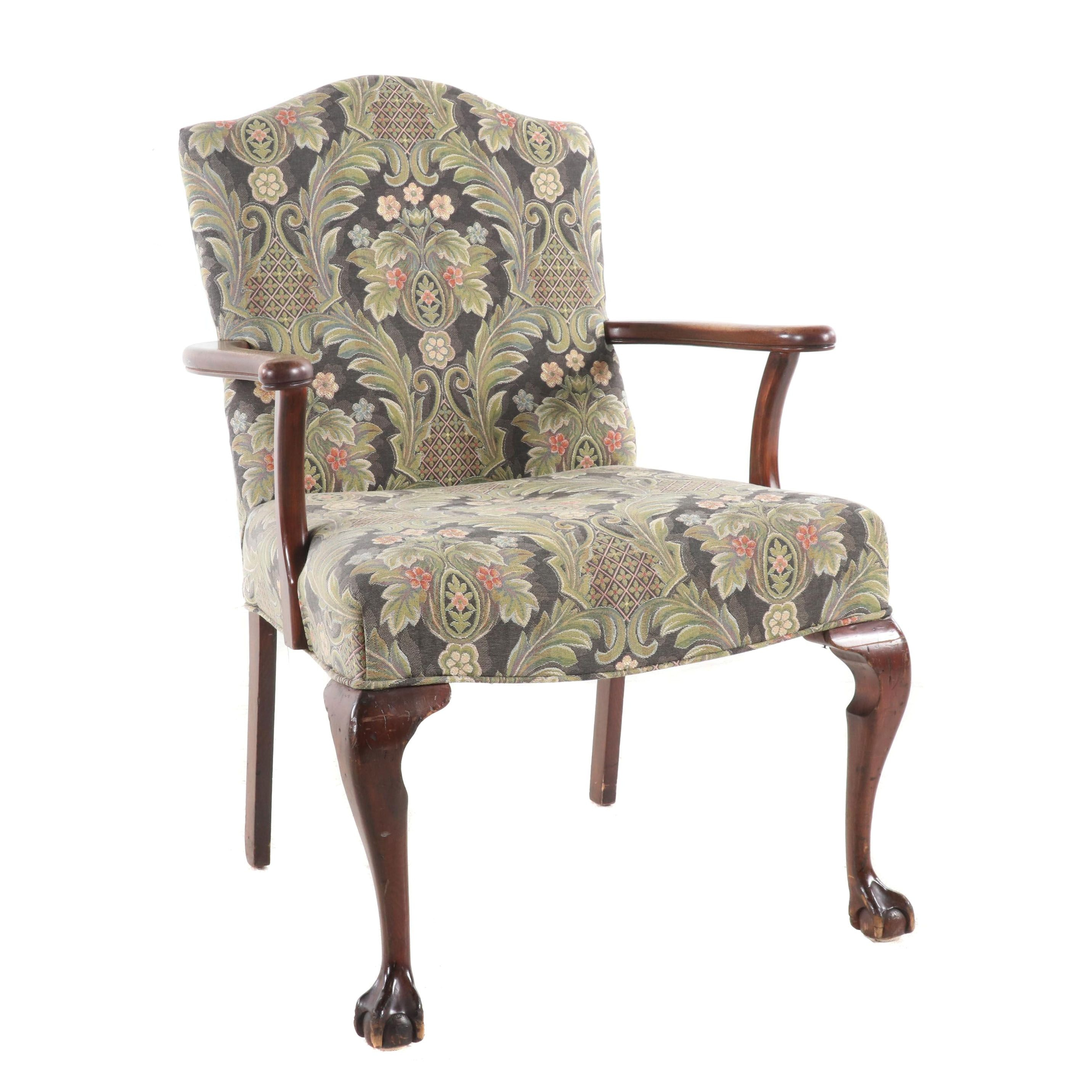 Chippendale Style Upholstered Mahogany Finish Armchair, Mid-Century