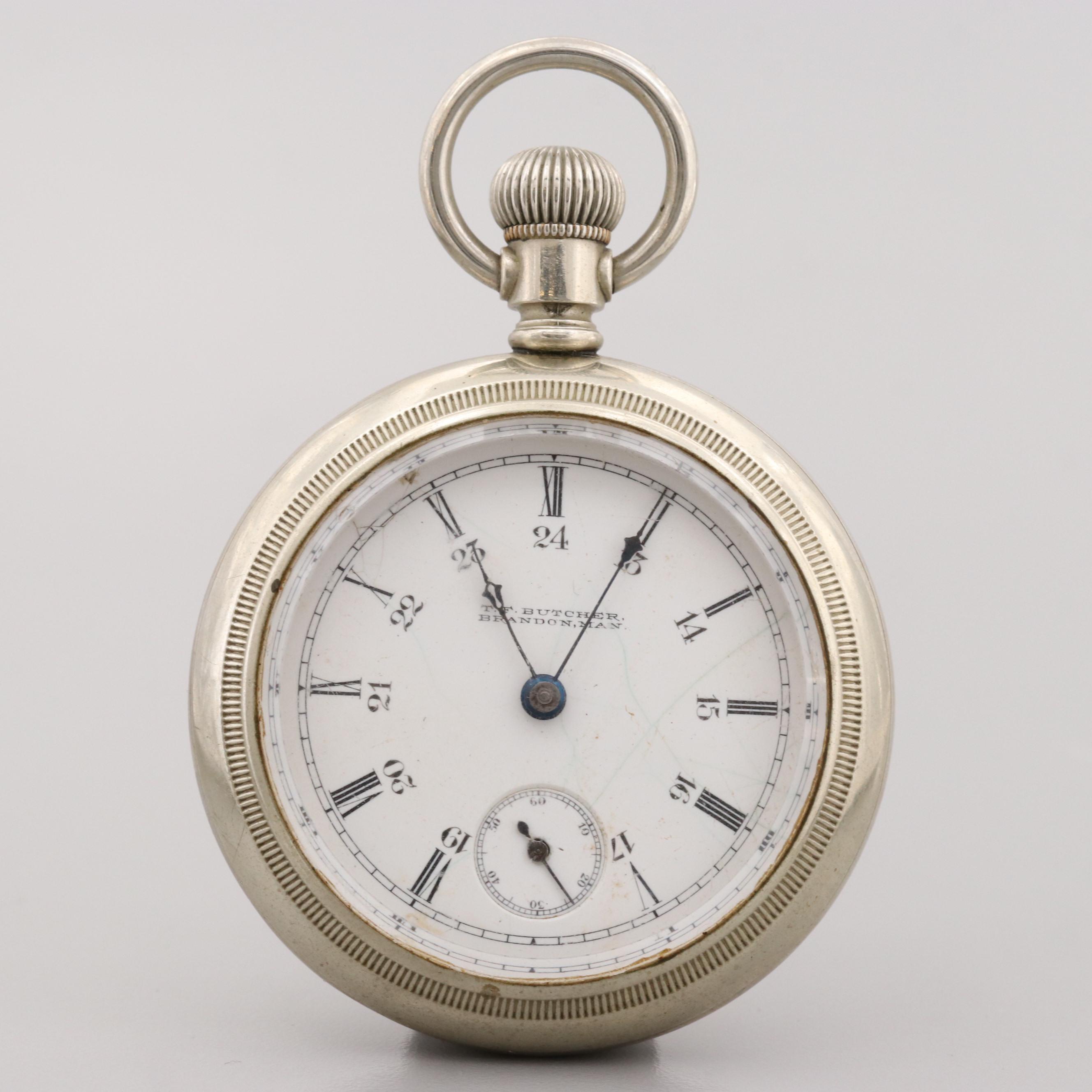 Antique Rockford Pocket Watch For T.F. Butcher Brandon, Manitoba