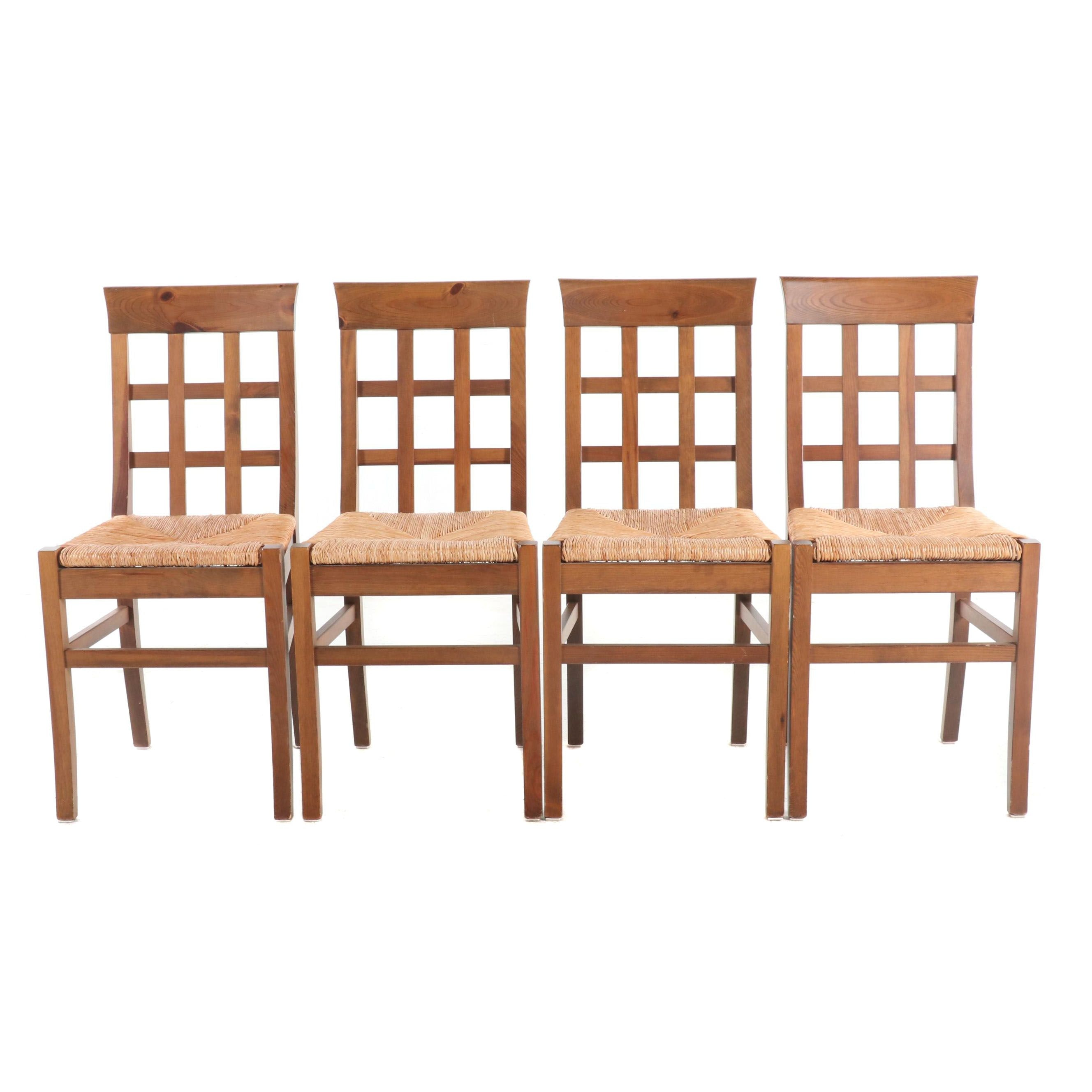 Arts and Crafts Style Pine Rush Seat Dining Chairs, Late 20th Century