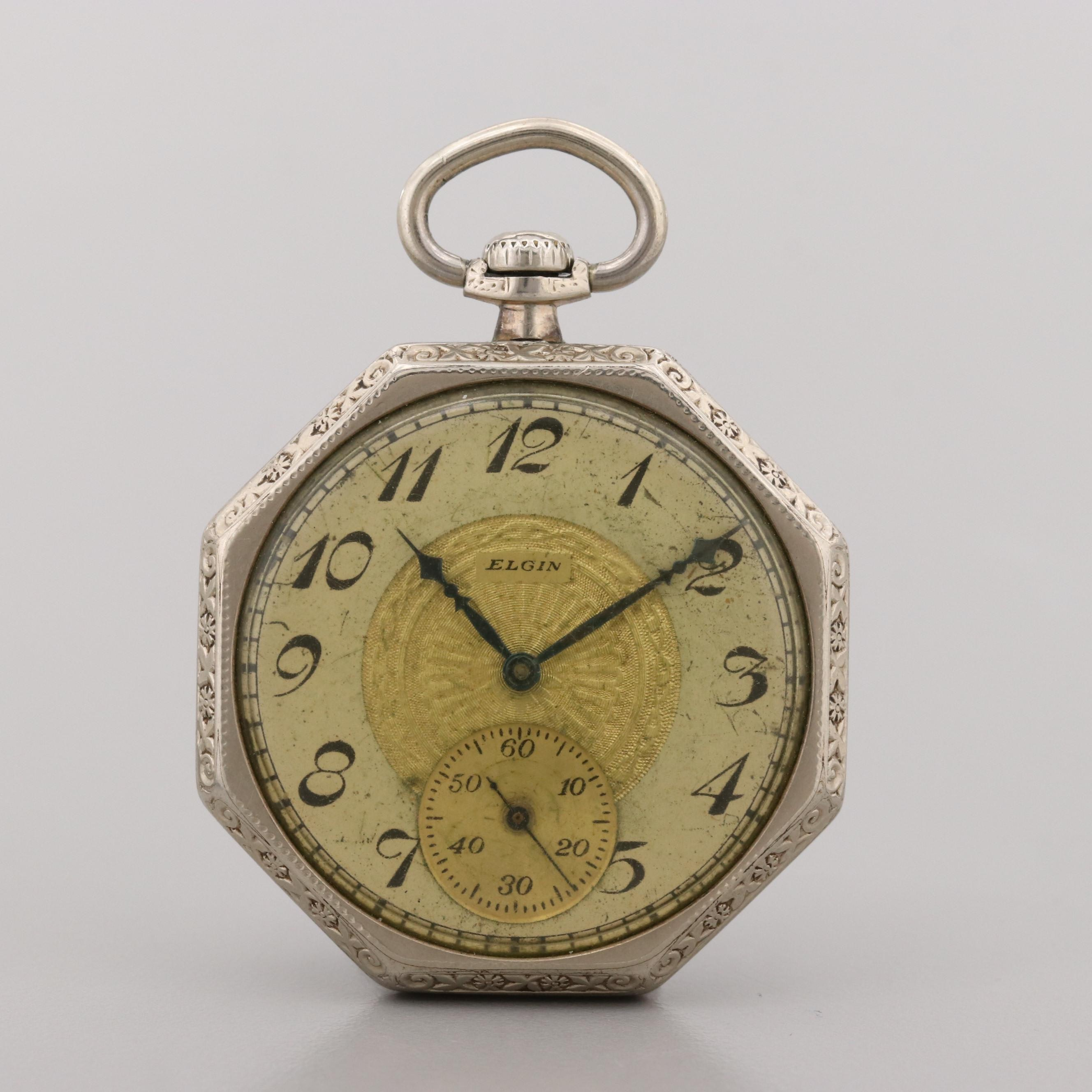 Elgin 14K Gold Filled Octagon Shape Pocket Watch, 1928