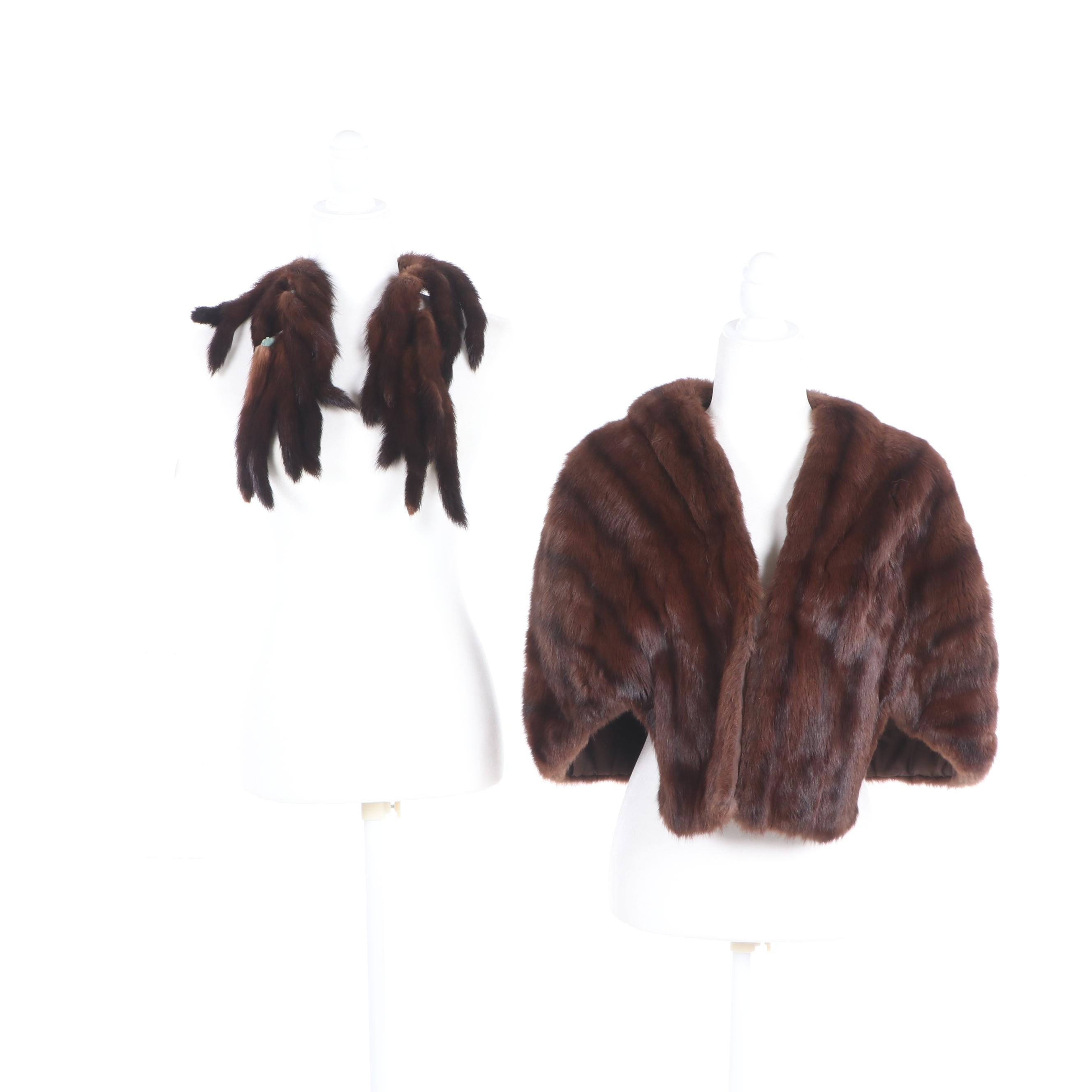 Women's Dyed Squirrel Fur Stole with Mink Fur Tail Scarf, Vintage