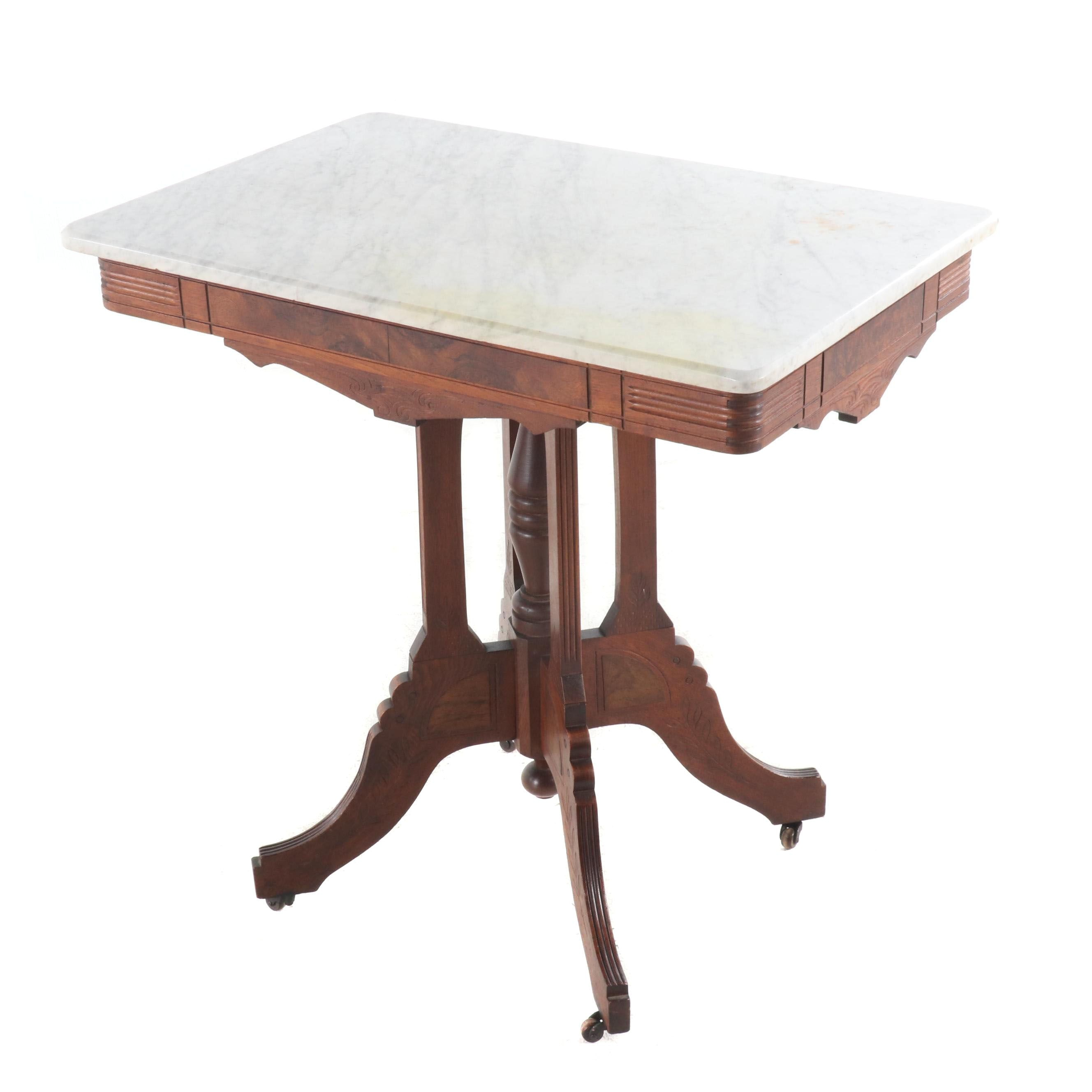 Eastlake Style Marble Top Walnut Table, Late 19th Century