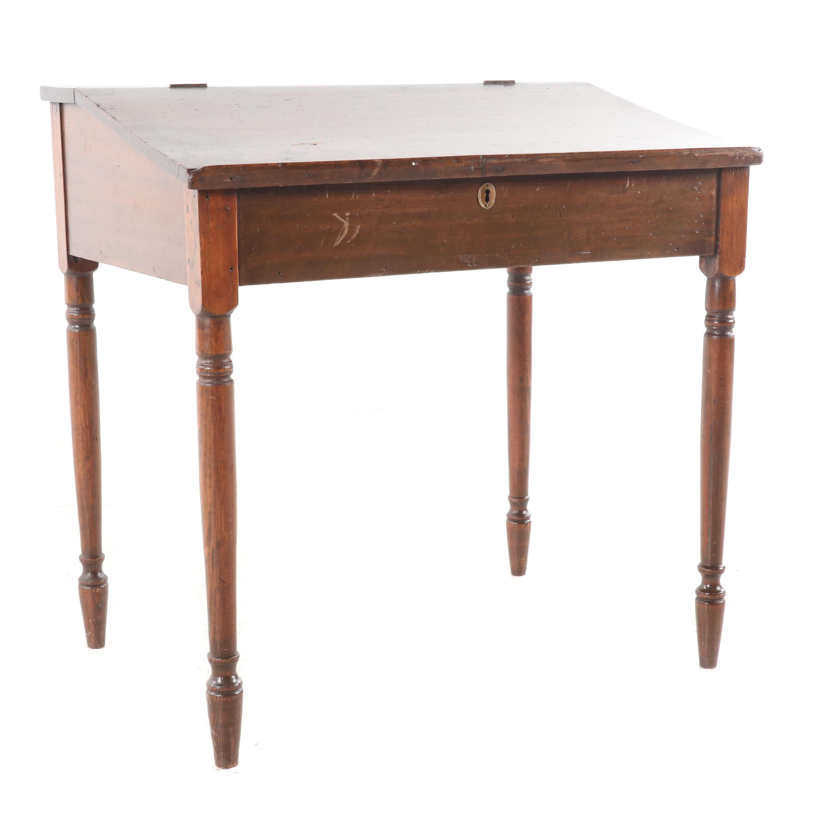 Federal Style Poplar Flip Top Desk, Mid 19th Century