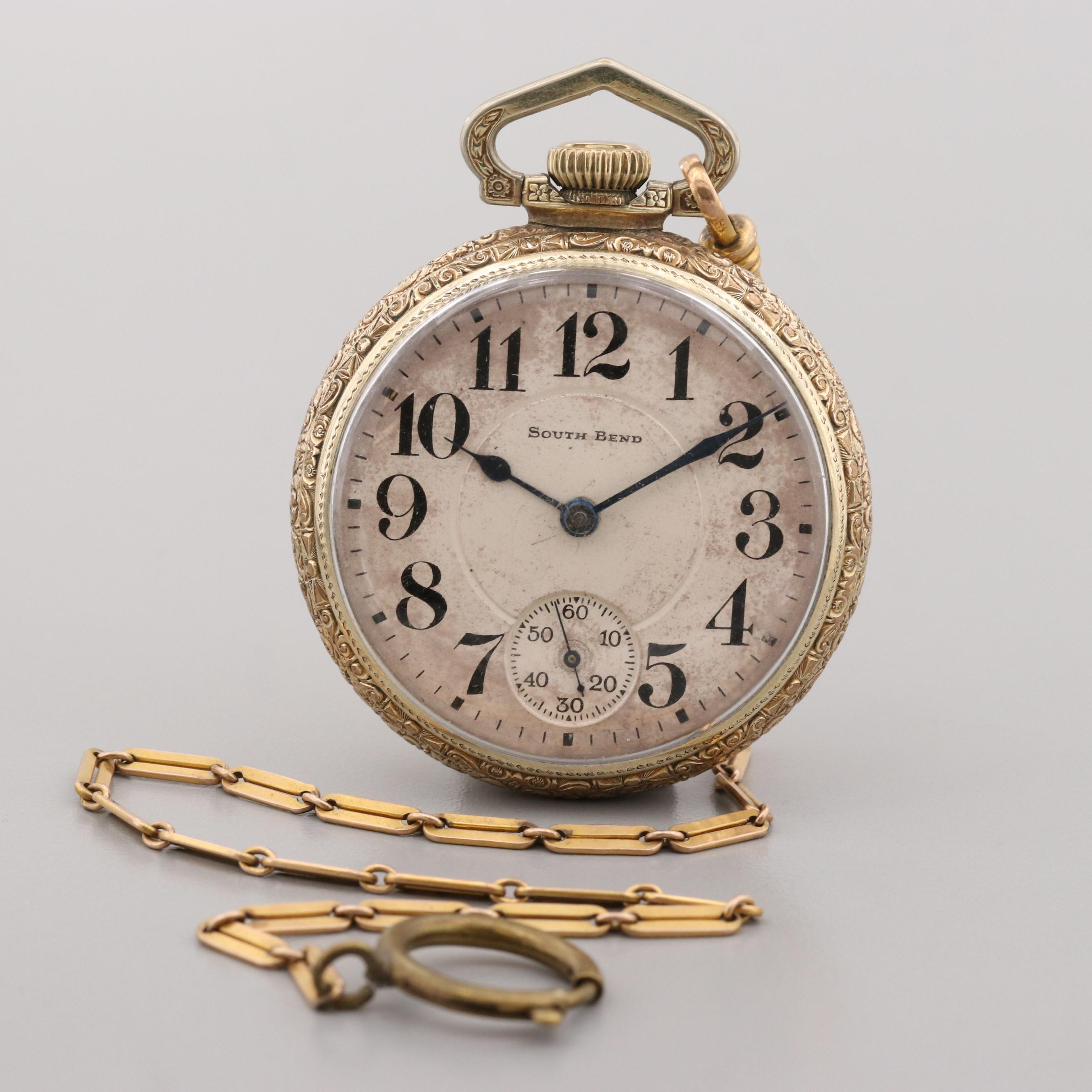 South Bend Gold Filled Pocket Watch with Fob Chain, 1926