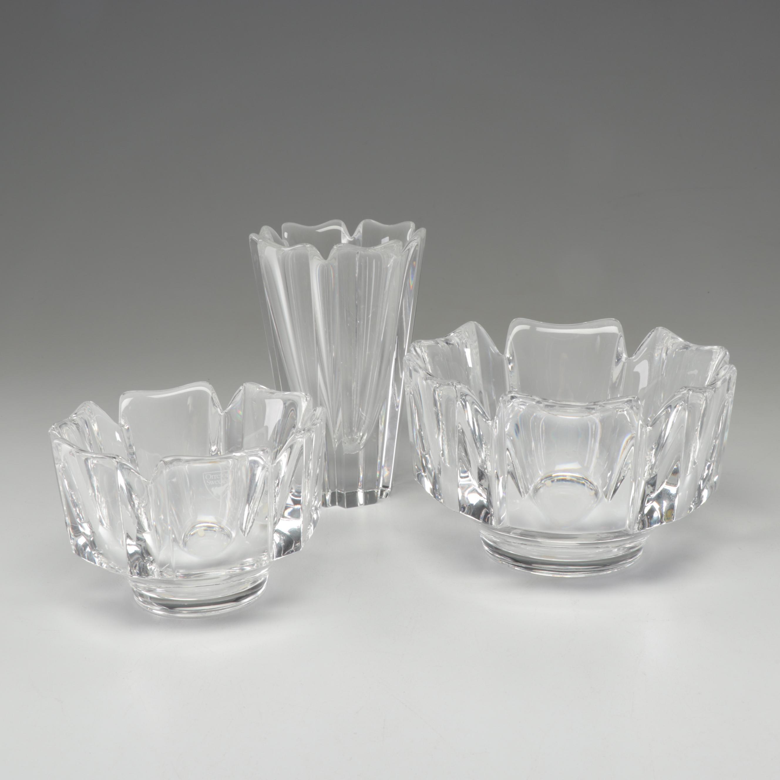Orrefors Crystal Vase and Bowls by Lars Hellsten