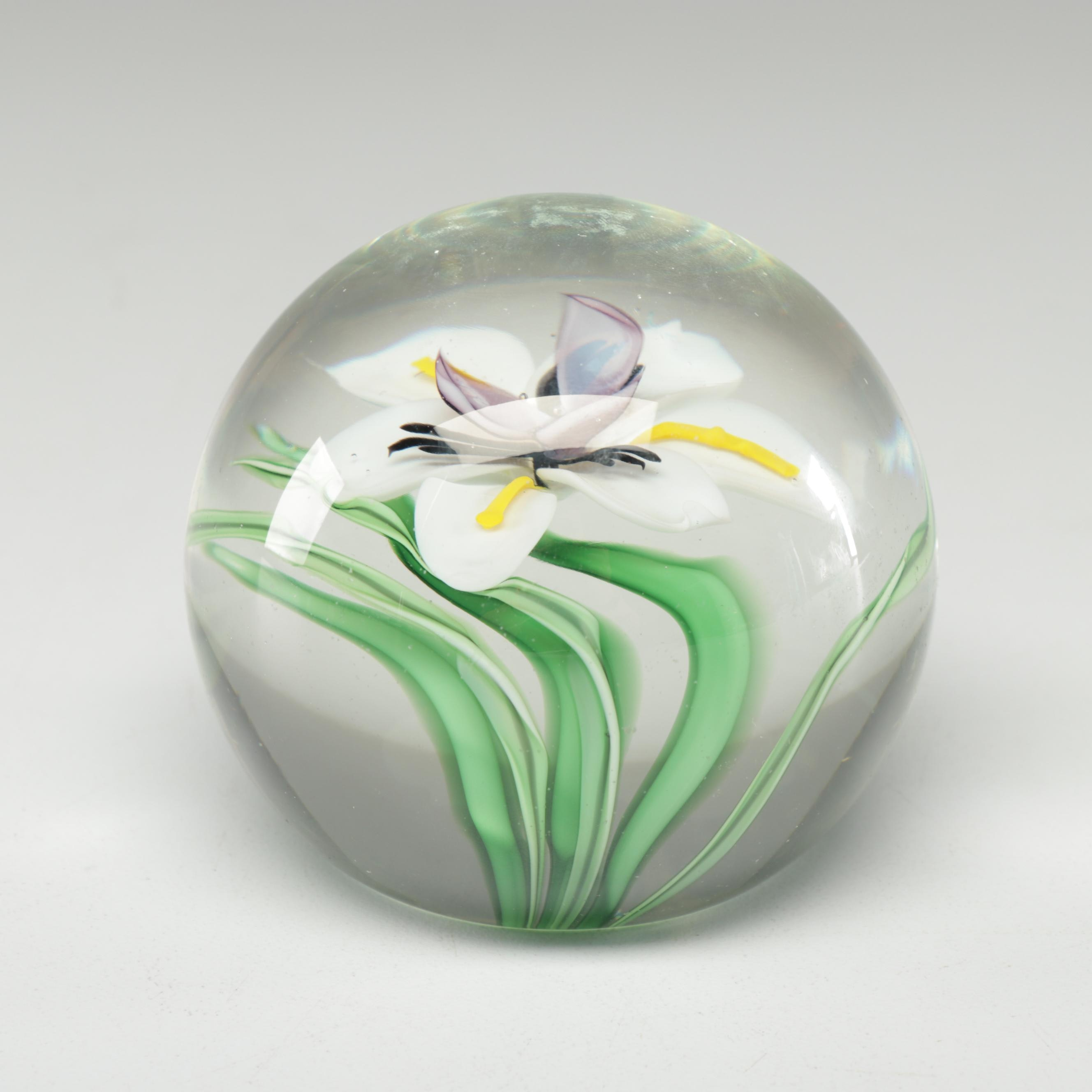 Orient & Flume Floral Art Glass Paperweight by M. Quinn, 1985