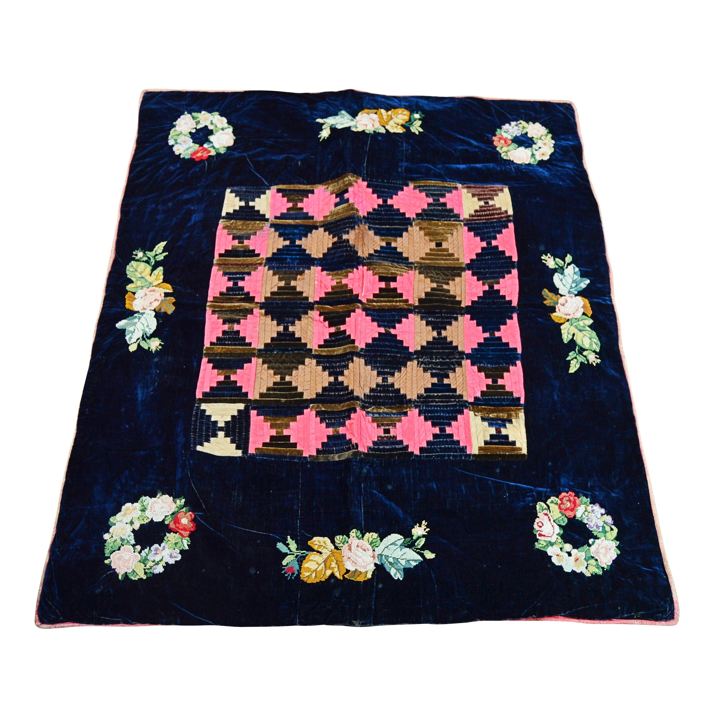 19th Century-Early 20th Century Hand-Stitched Velvet Quilt with Needlepoint