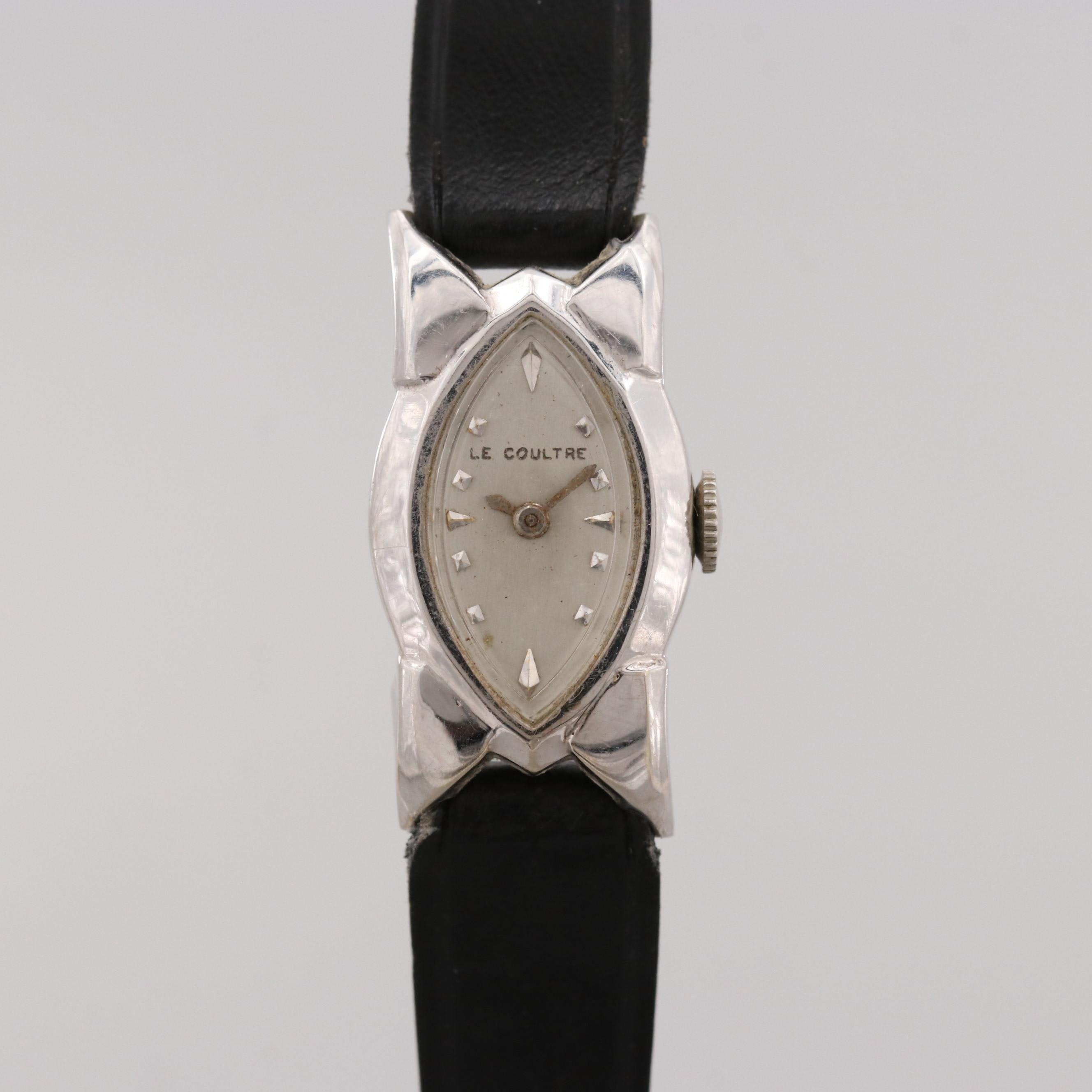 Vintage LeCoultre 14K White Gold Stem Wind Wristwatch