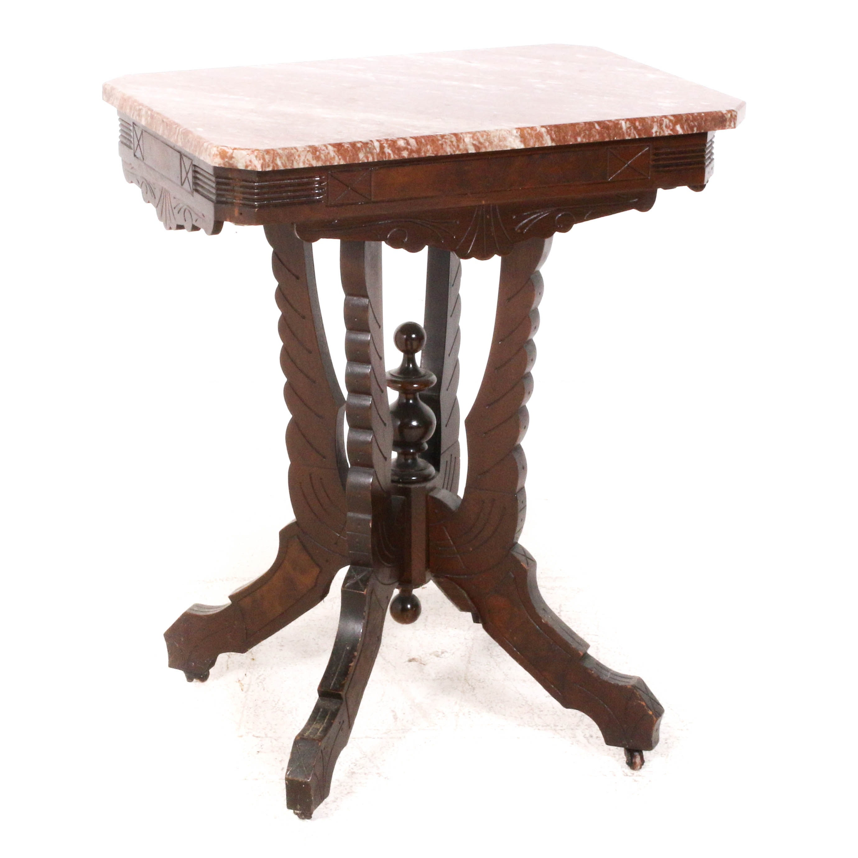 Victorian Eastlake Marble-Top Table, 19th Century
