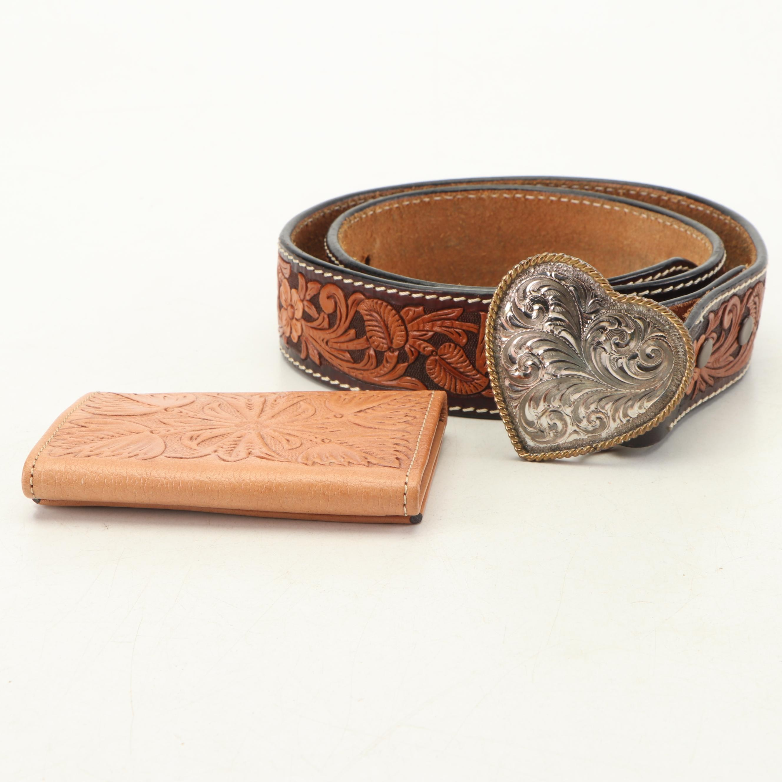 Circle Y Tooled Leather Wallet and Belt with Silver Plate Heart Shape Buckle