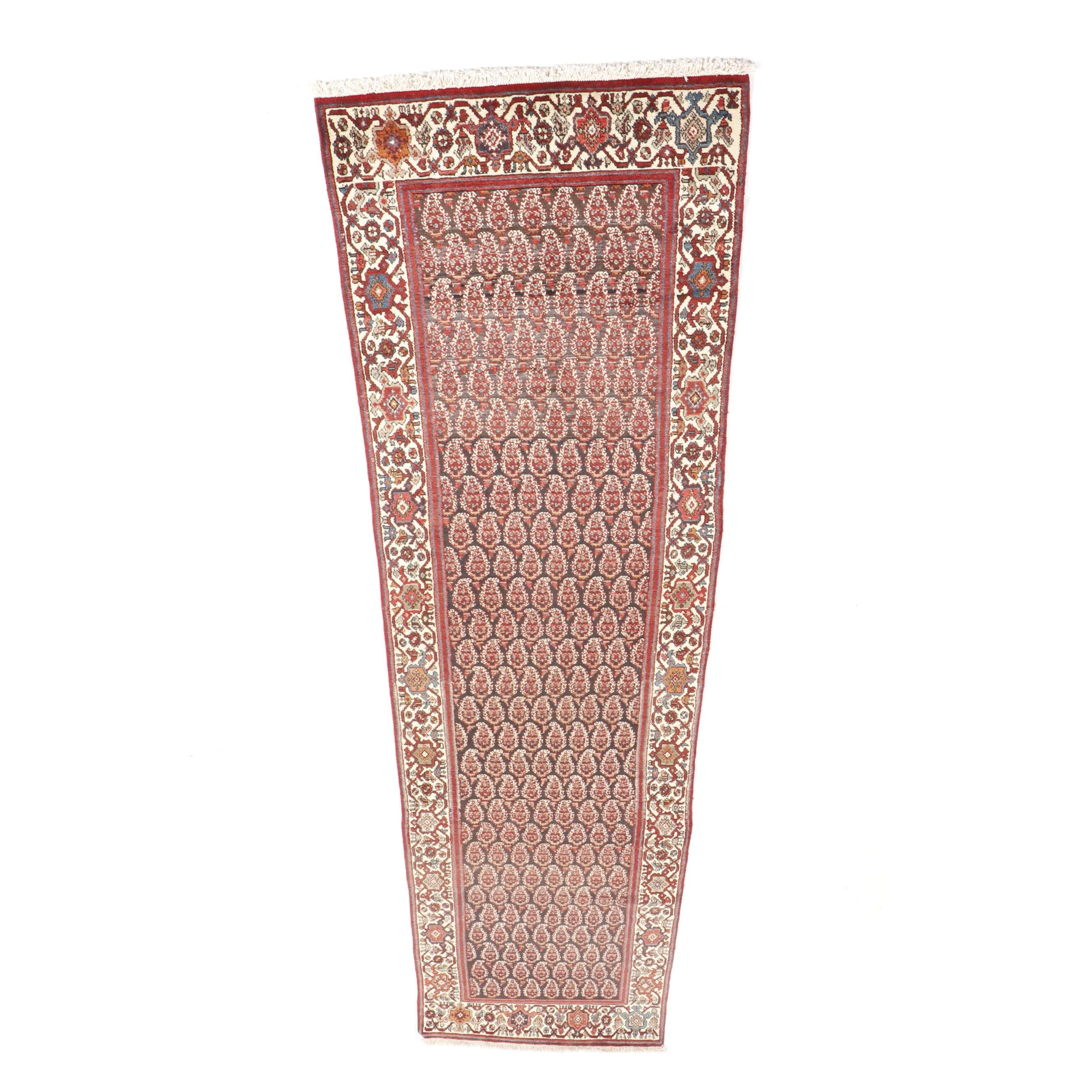 Hand-Knotted Indo Mir Boteh Wool Runner