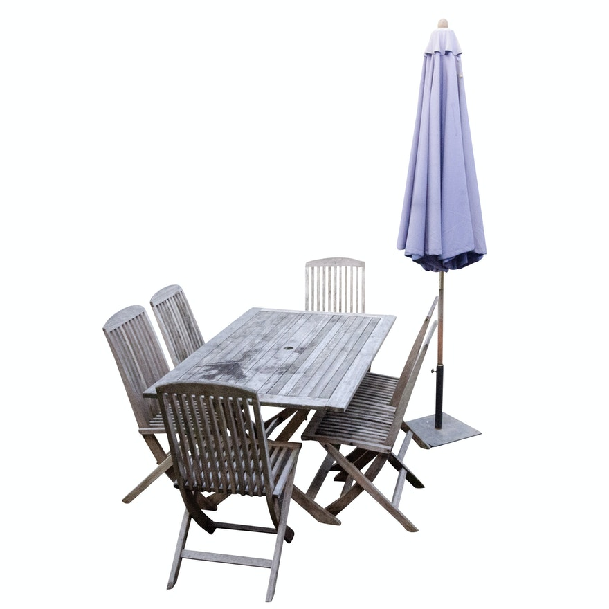 Swell Teak Patio Dining Table Six Folding Chairs And Patio Umbrella Machost Co Dining Chair Design Ideas Machostcouk