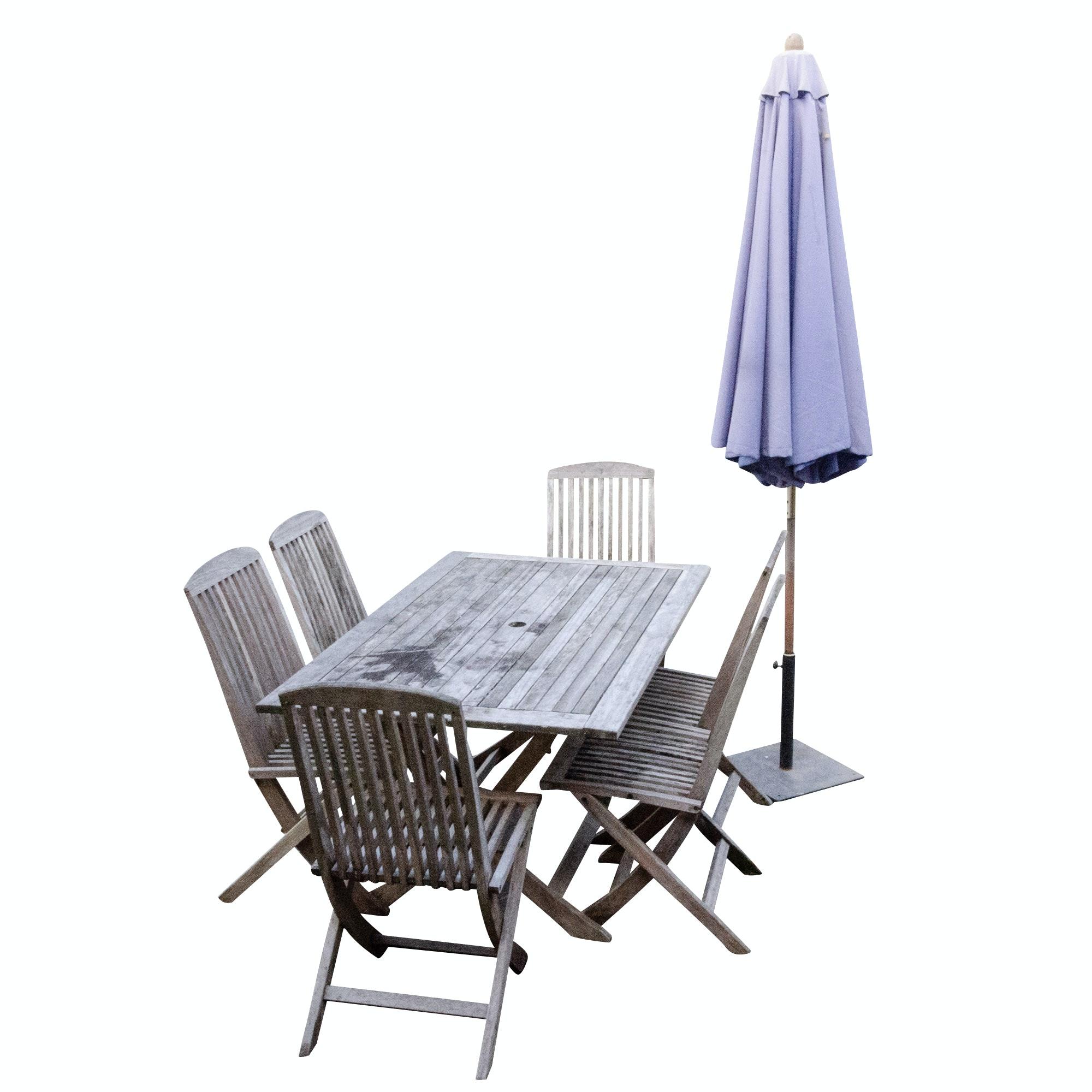 sc 1 st  EBTH.com & Teak Patio Dining Table Six Folding Chairs and Patio Umbrella : EBTH