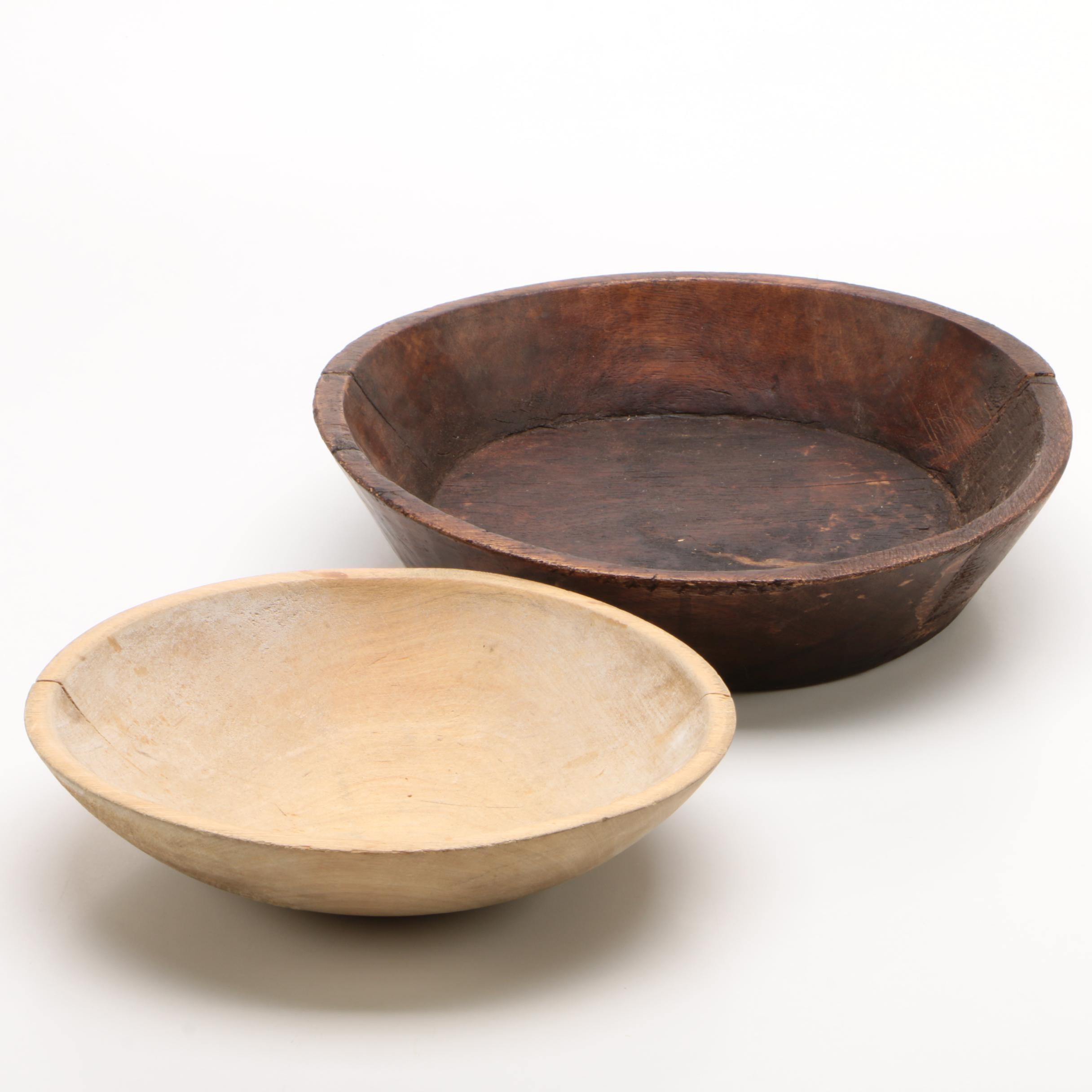 Hand Hewn Wooden Dough Bowls