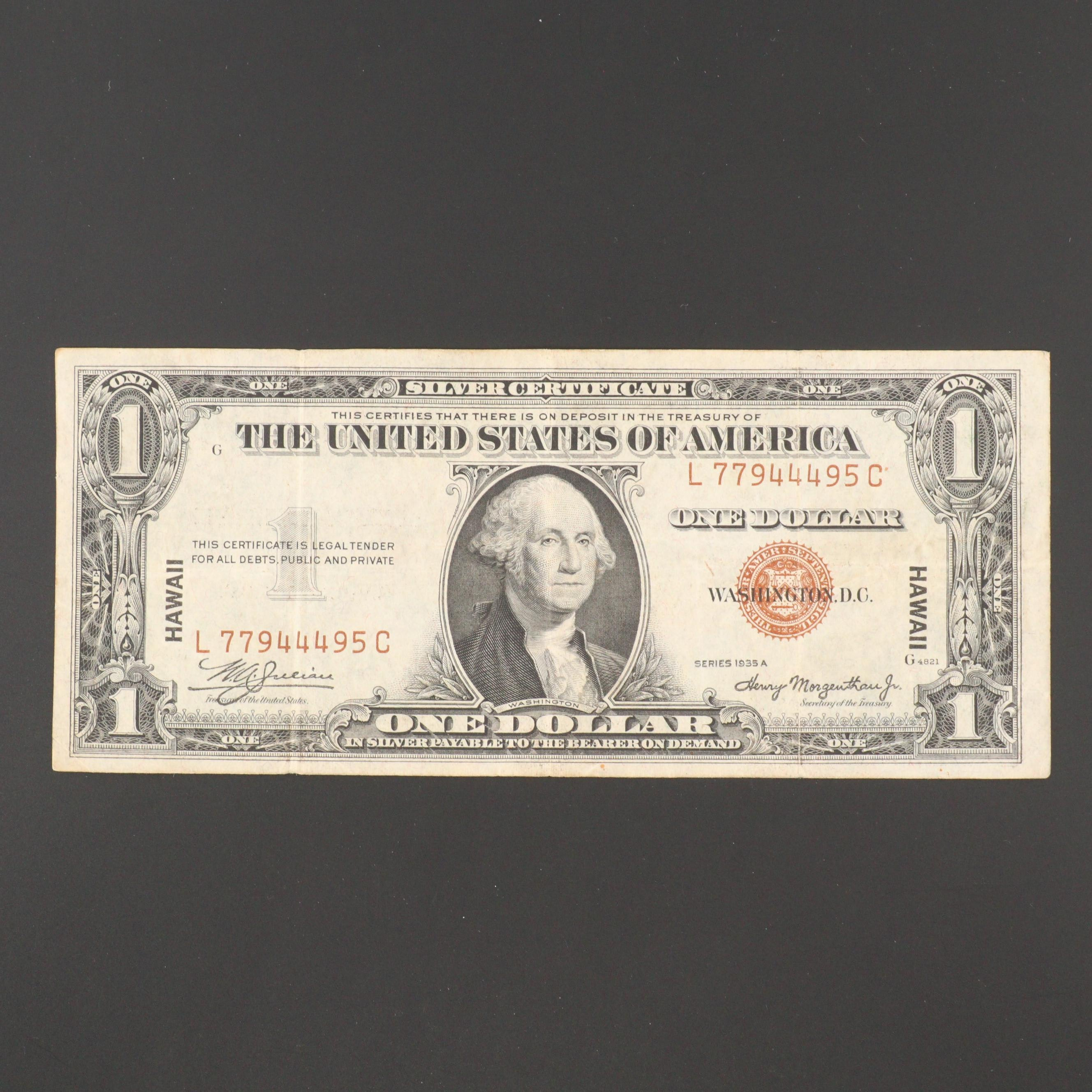 1935 Brown Seal Hawaii $1 Silver Certificate