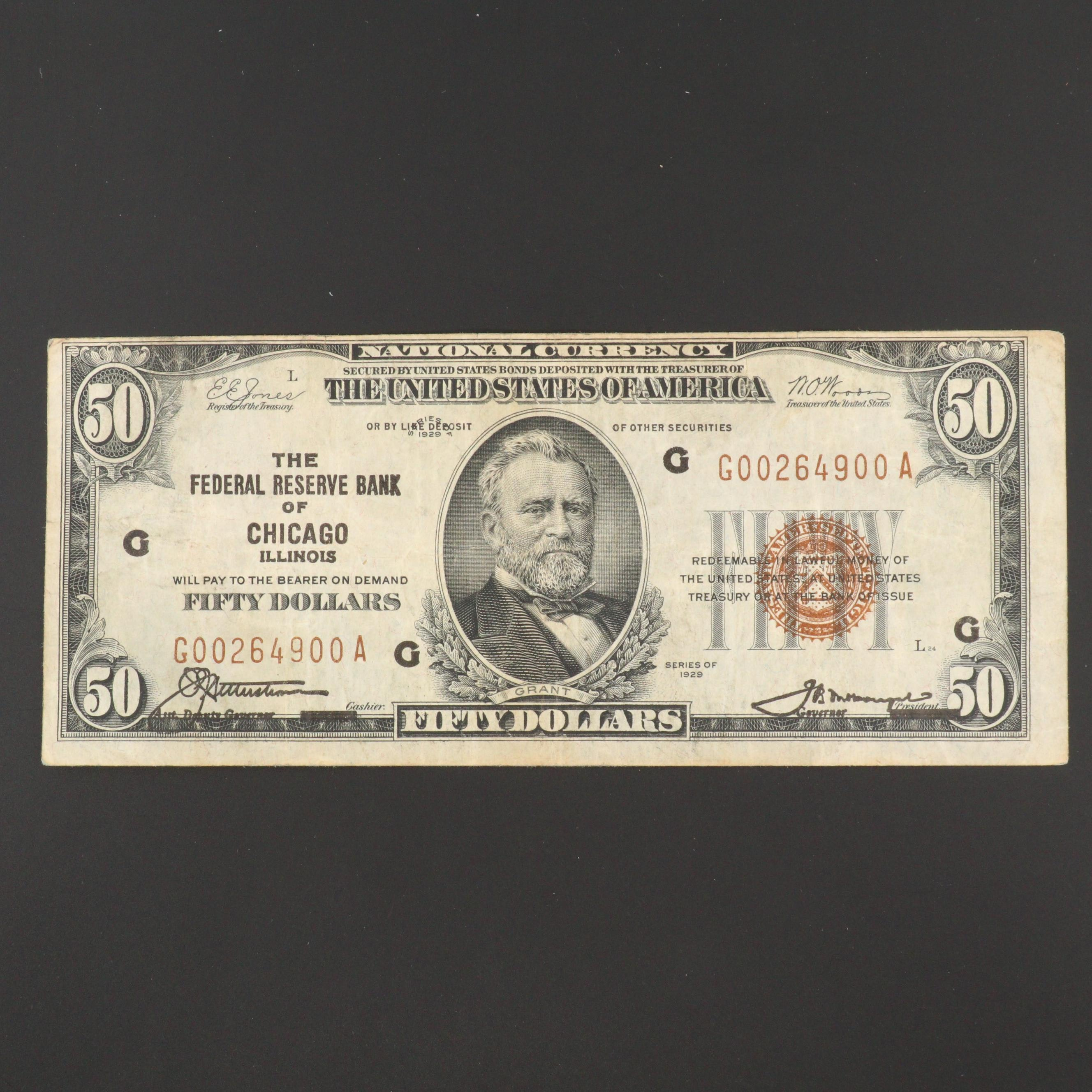 1929 $50 National Currency Note with Red Seal