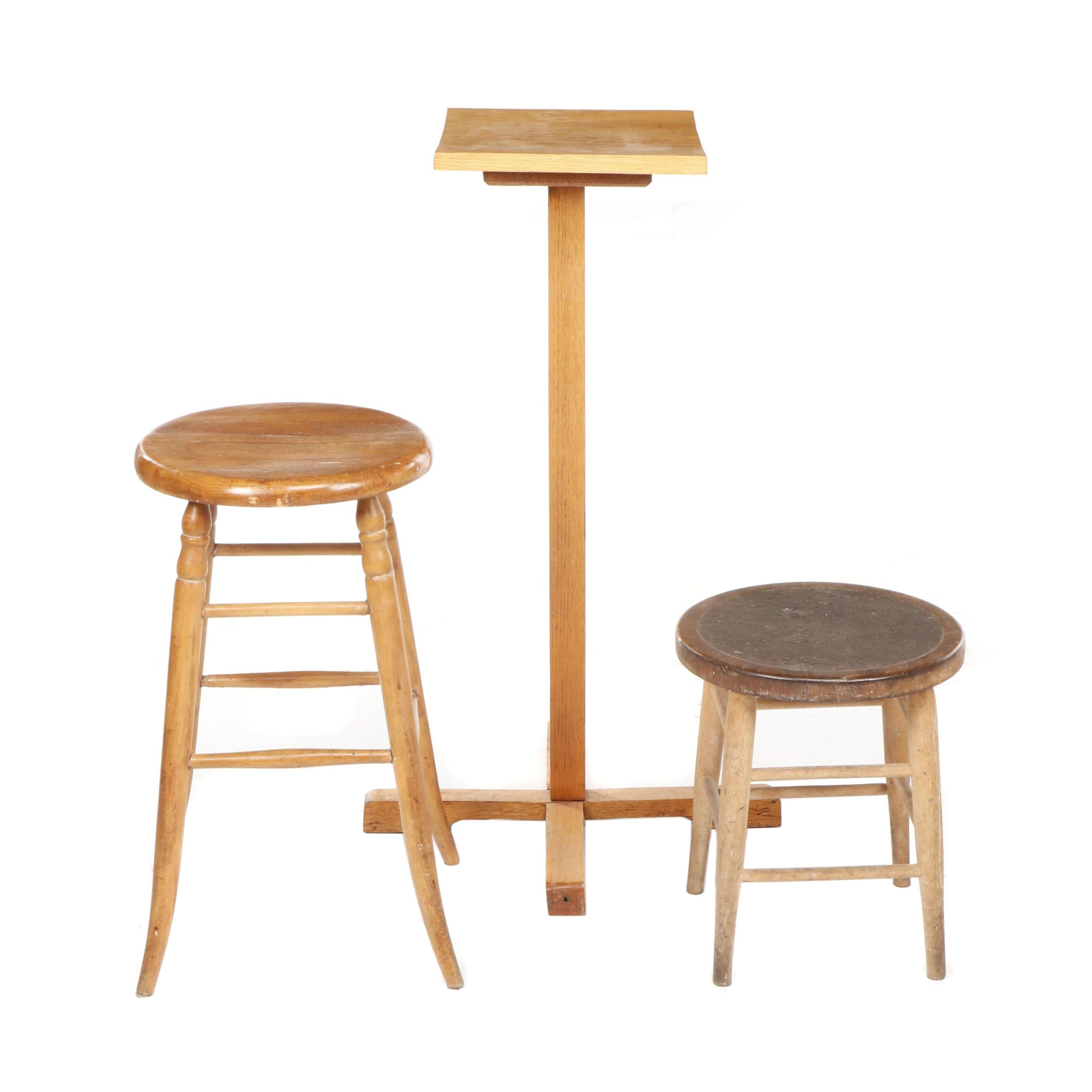 Mid Century Wooden Pedestal, Barstool and Stool