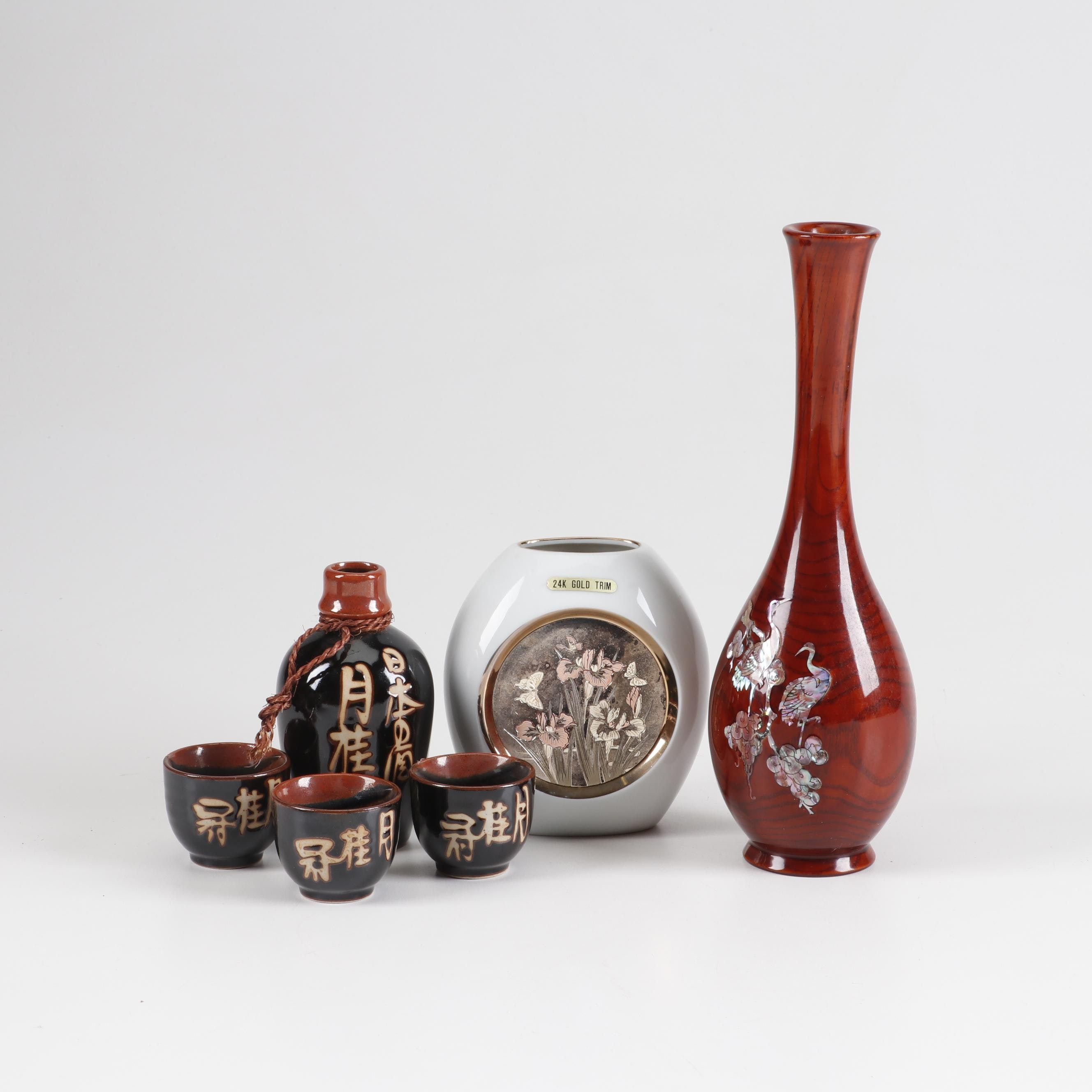 Japanese Earthenware Sake Set, Inlaid Rosewood Vase and Gold Trim Chokin Vase
