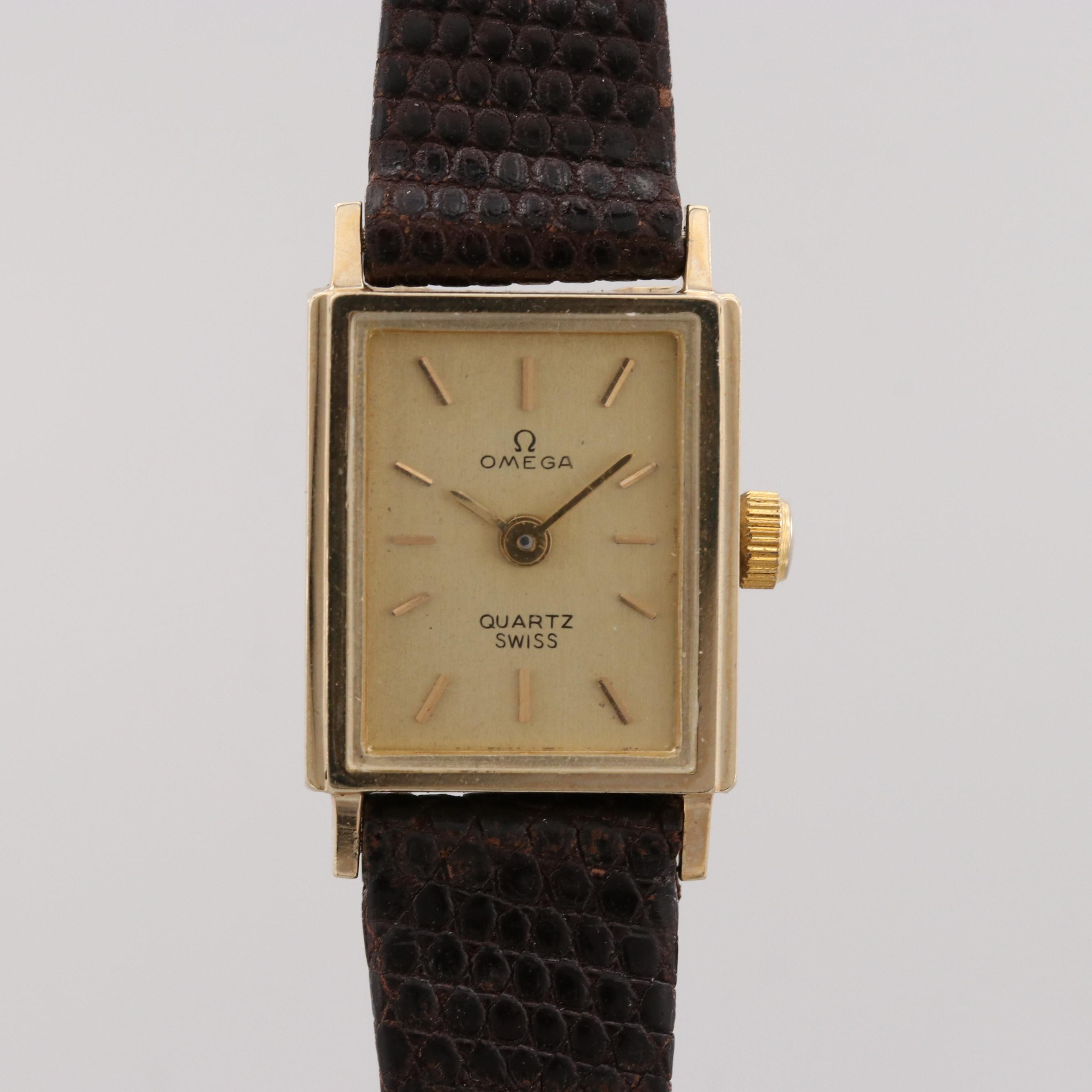 Vintage Omega 14K Yellow Gold Quartz Wristwatch