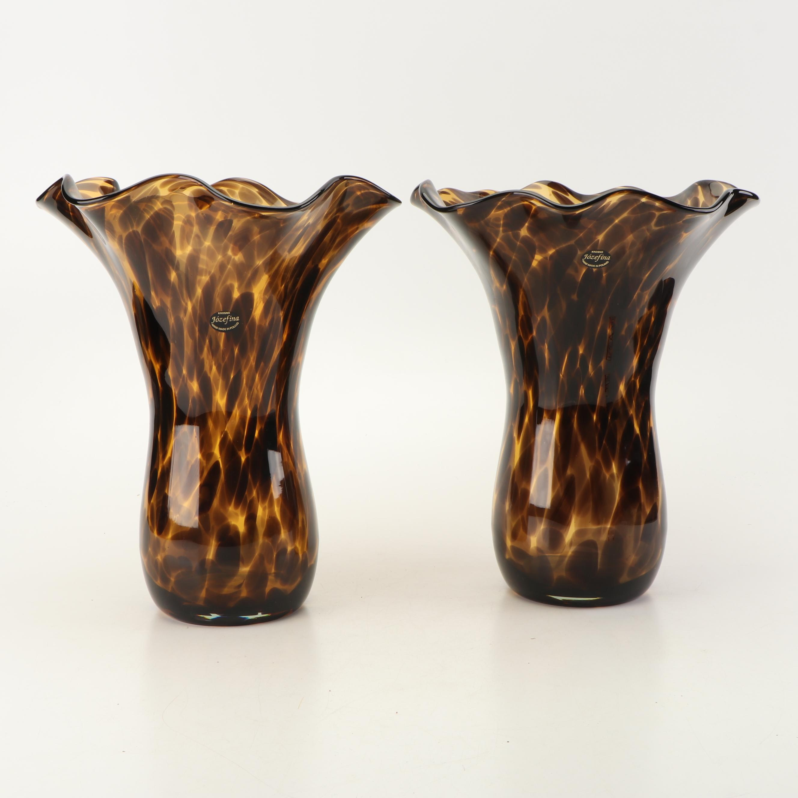 Pair of Józefina Art Glass Vases