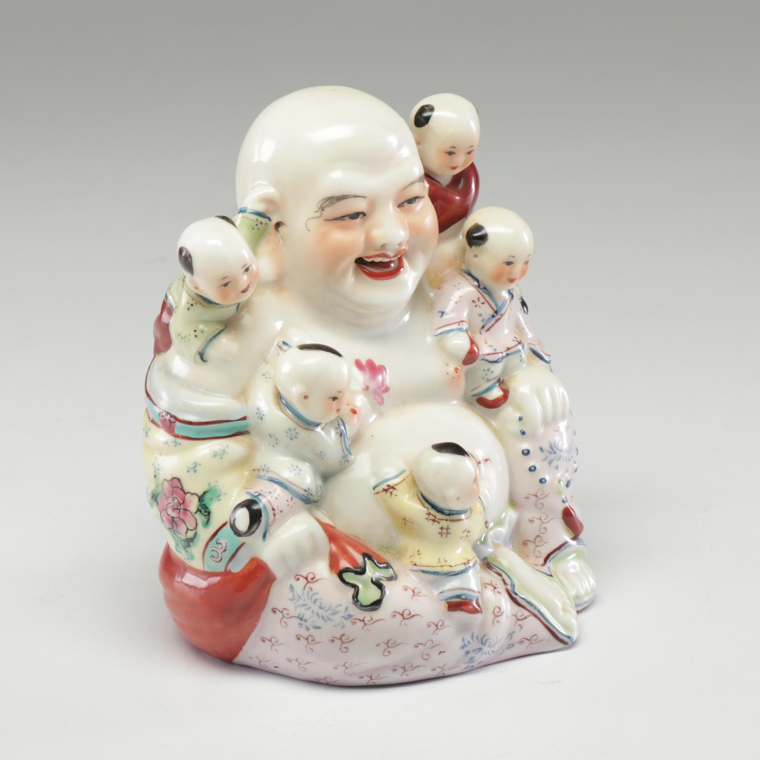 Chinese Porcelain Budai with Children Figurine, 20th Century