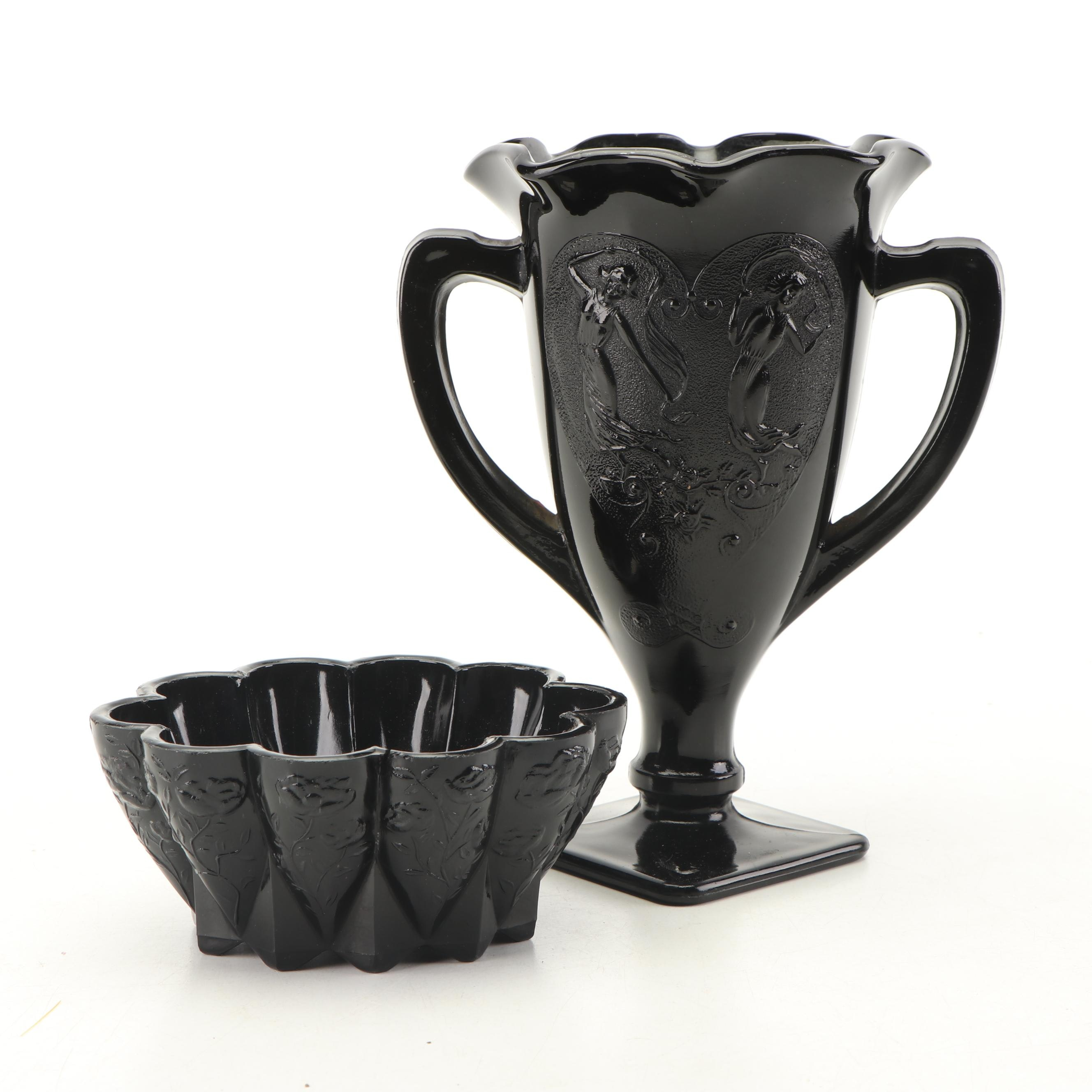 Black Glass Trophy Vase and Scalloped Bowl