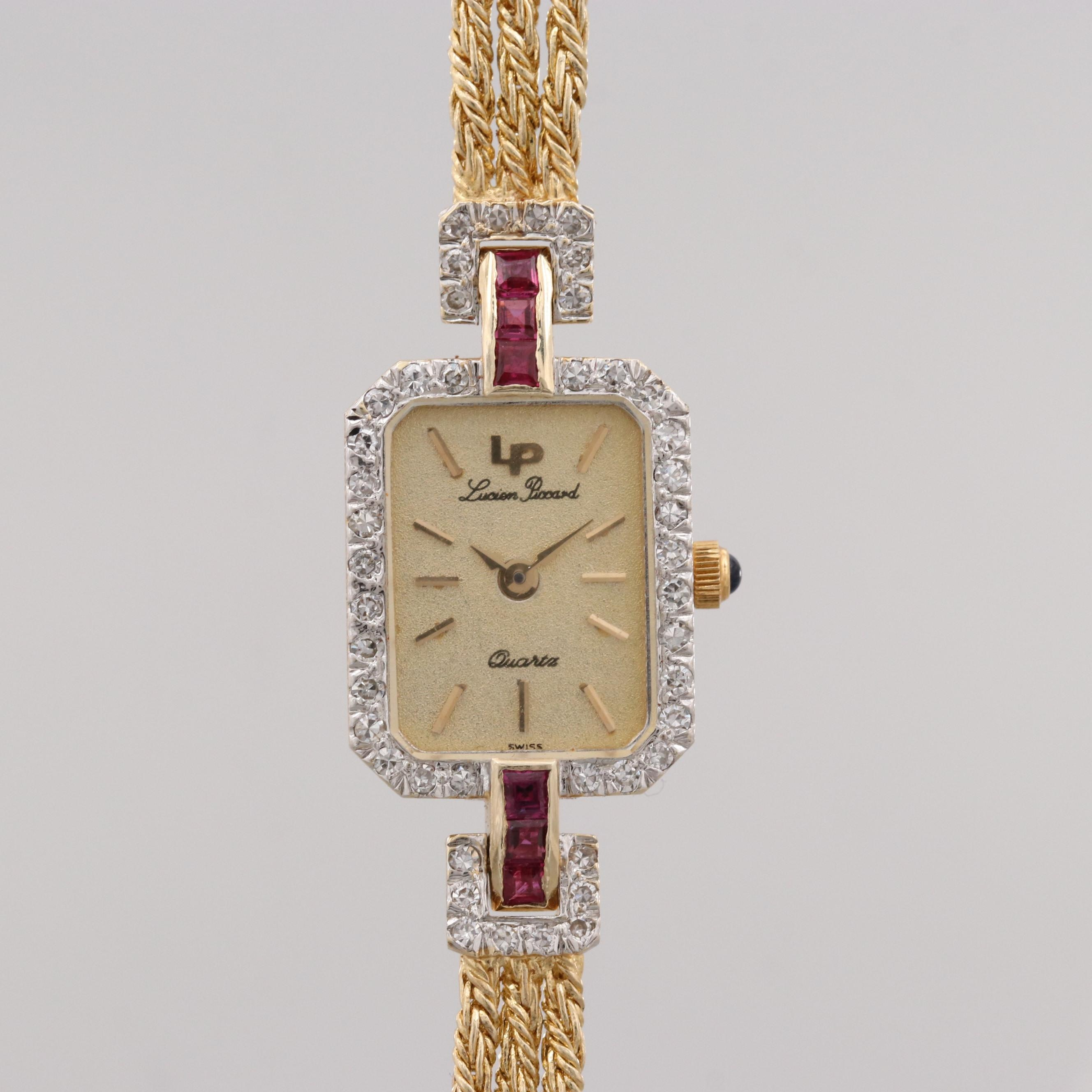 Lucien Piccard 14K Yellow Gold Diamond and Ruby Wristwatch