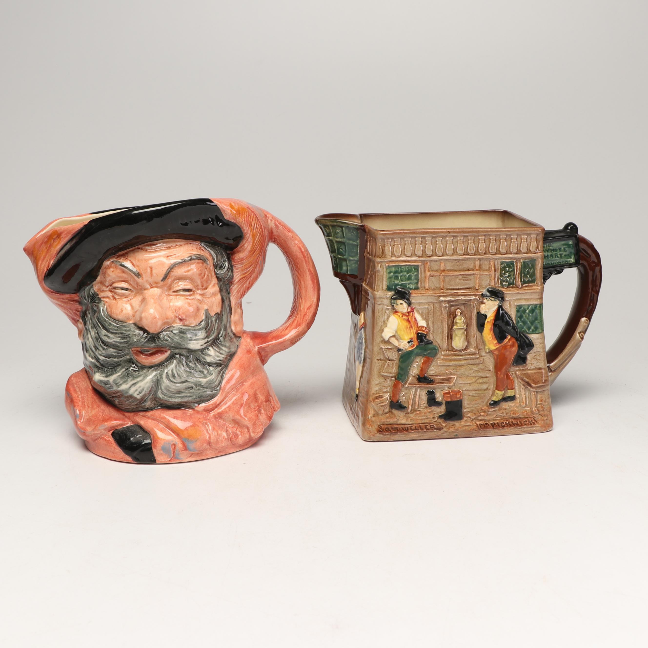 "Royal Doulton ""Falstaff"" Toby Jug and ""The White Hart Inn"" Figural Pitcher"