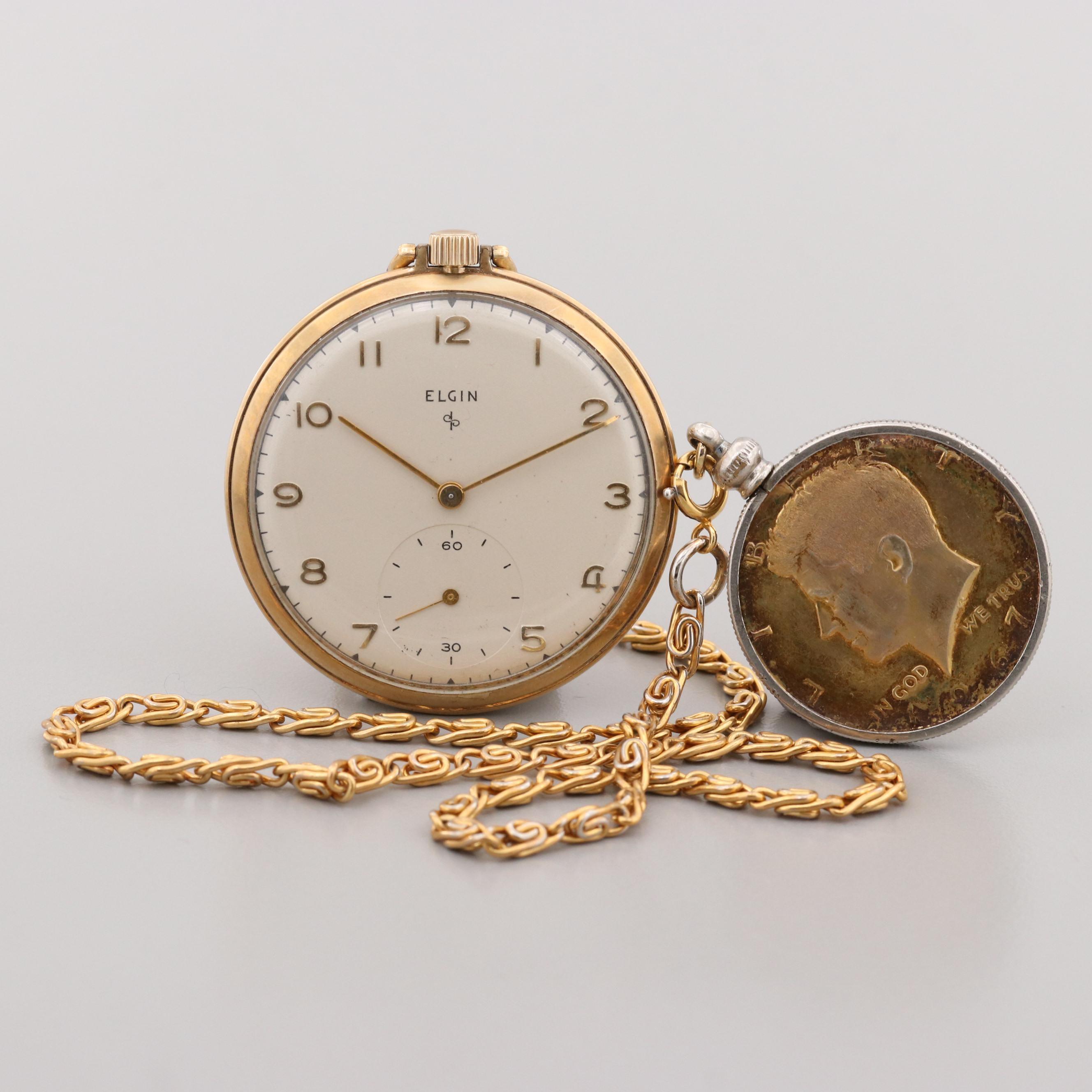 Elgin 10K Gold Filled Pocket Watch With Kennedy Half Dollar Fob Chain, 1949