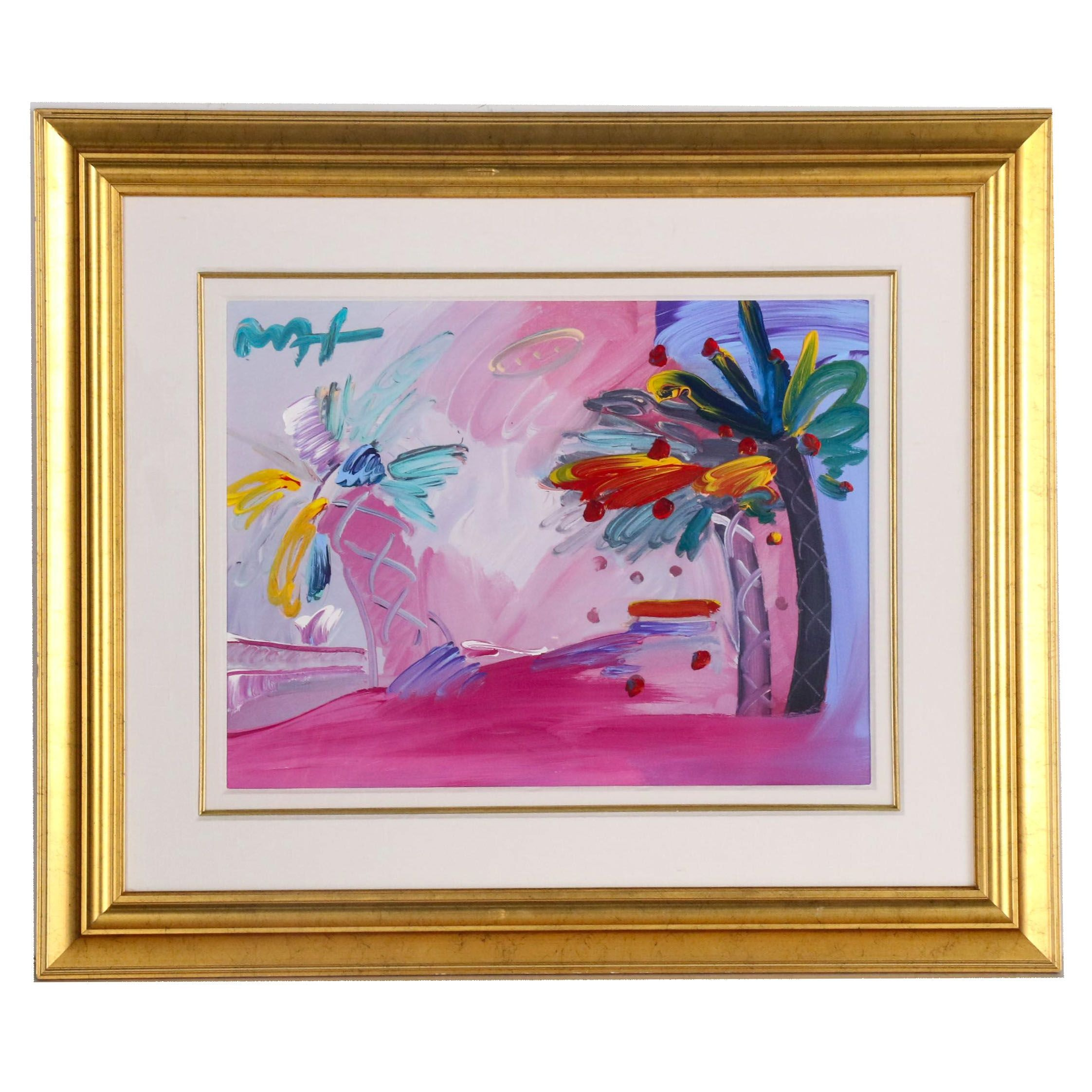 "Peter Max Acrylic Embellished Offset Lithograph ""American 500: Palm Tree"""