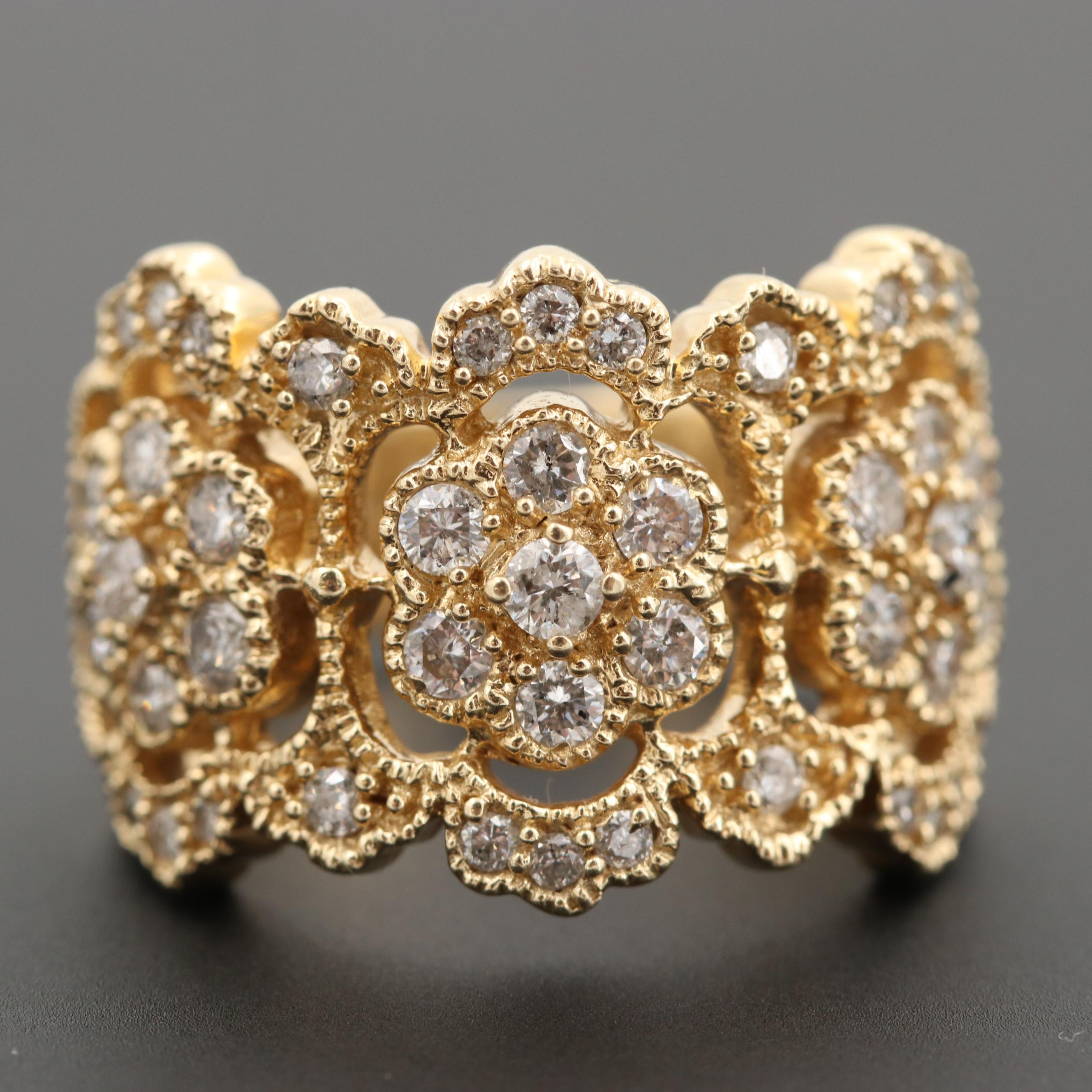 EFFY 14K Yellow Gold Diamond Floral Motif Ring