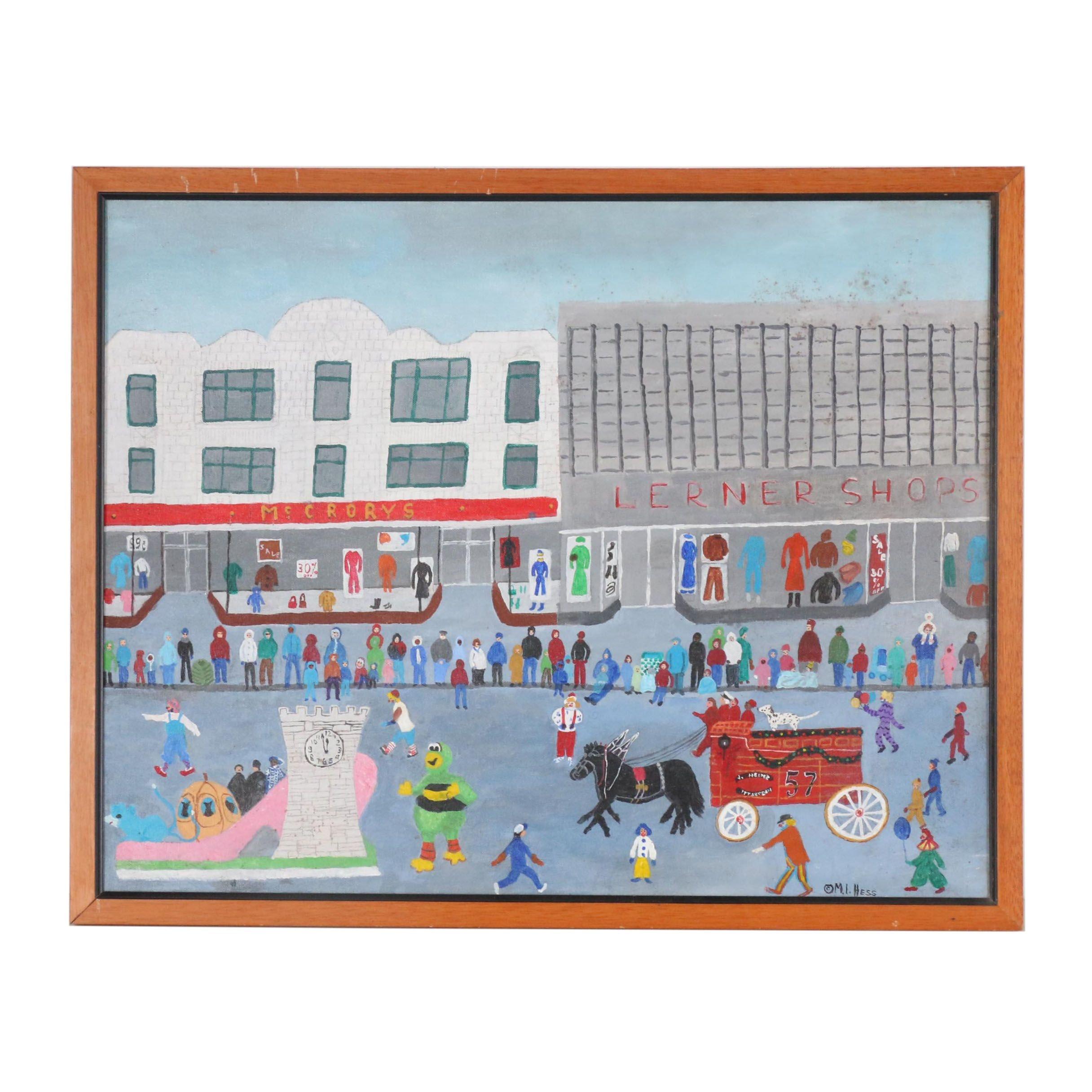 Inez Hess Folk Acrylic Painting of Parade Scene
