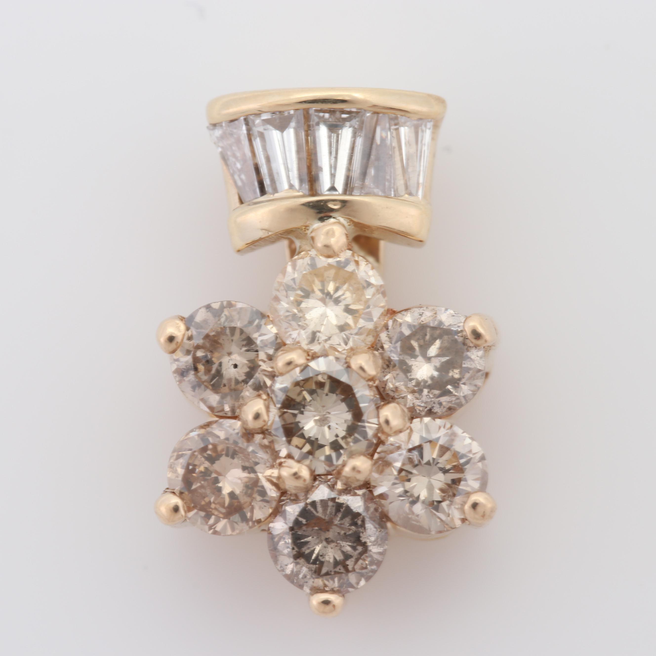 14K Yellow Gold Diamond Flower Pendant