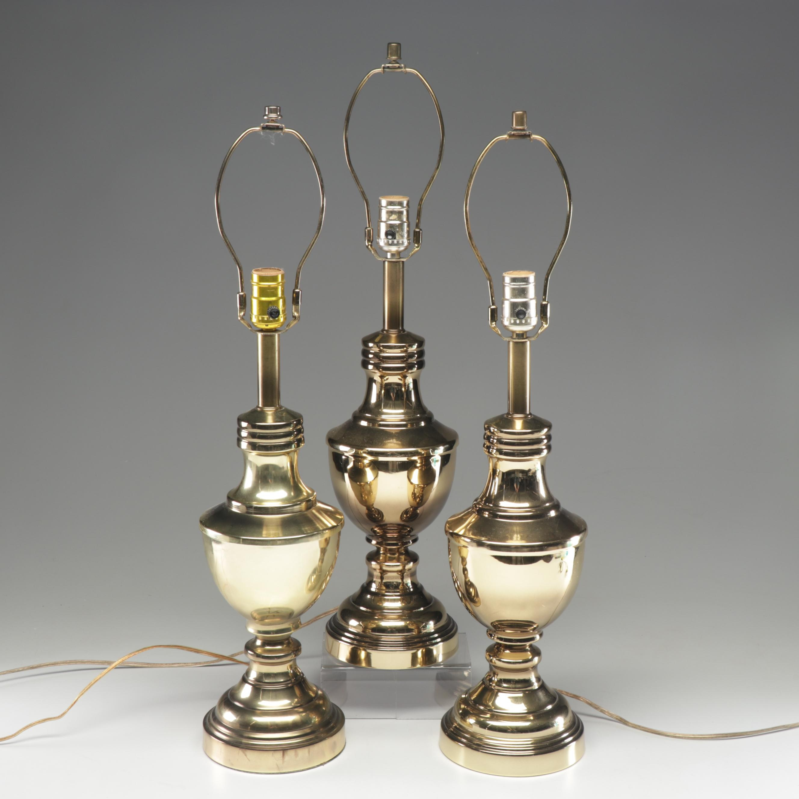 Three Brass Tone Metal Table Lamps