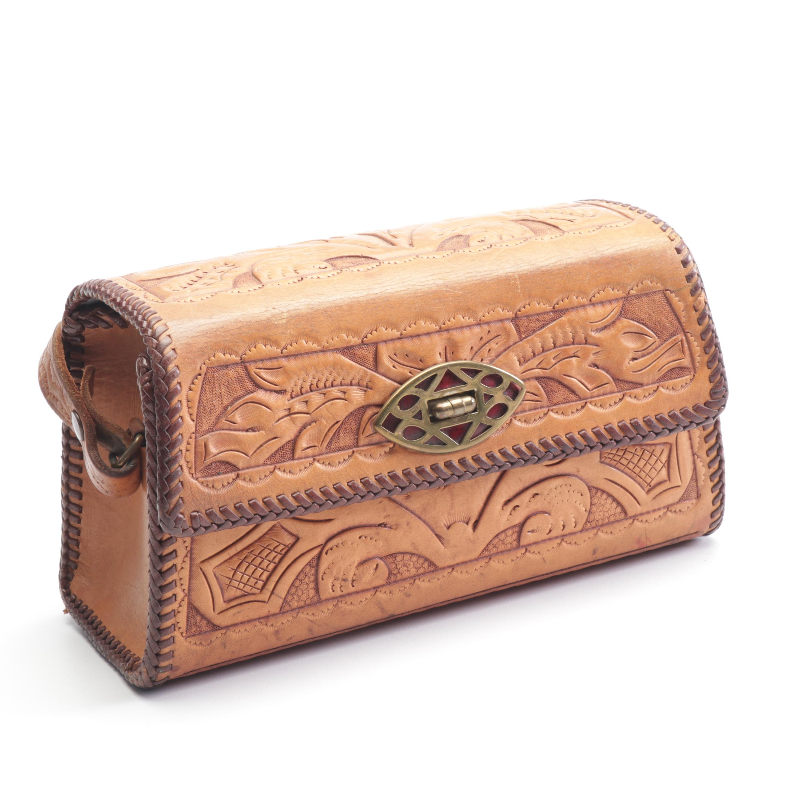 Tooled Leather Purse with Suede Lining and Pocket Mirror, Vintage