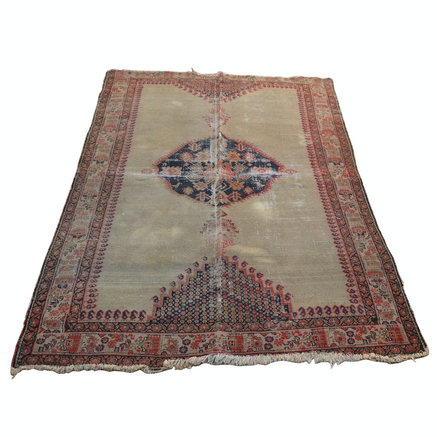 Hand-Knotted Persian Wool Rug, Early 20th Century
