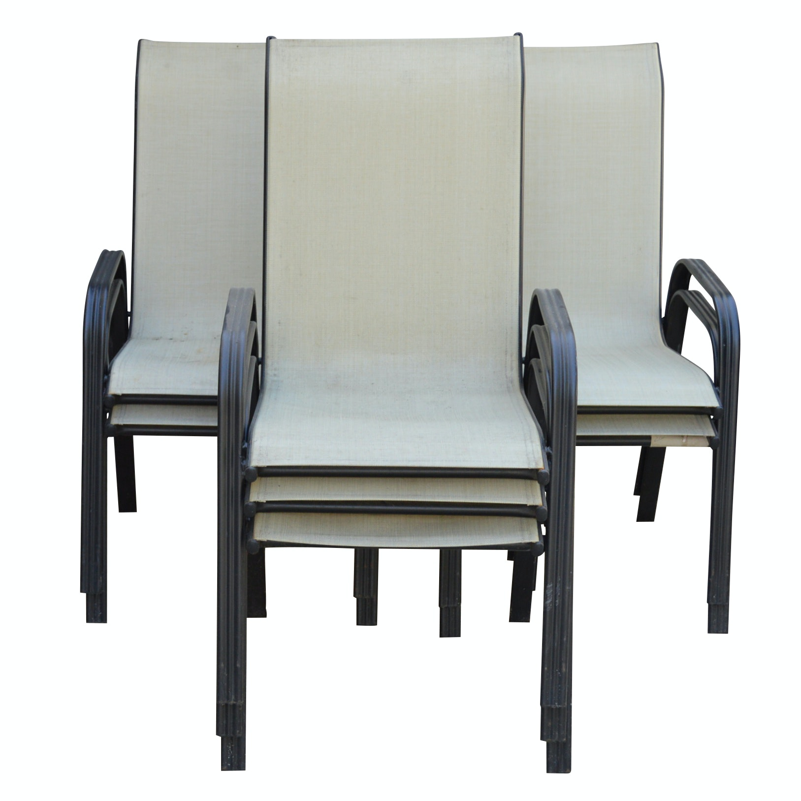 Seven Mesh and Metal Patio Chairs