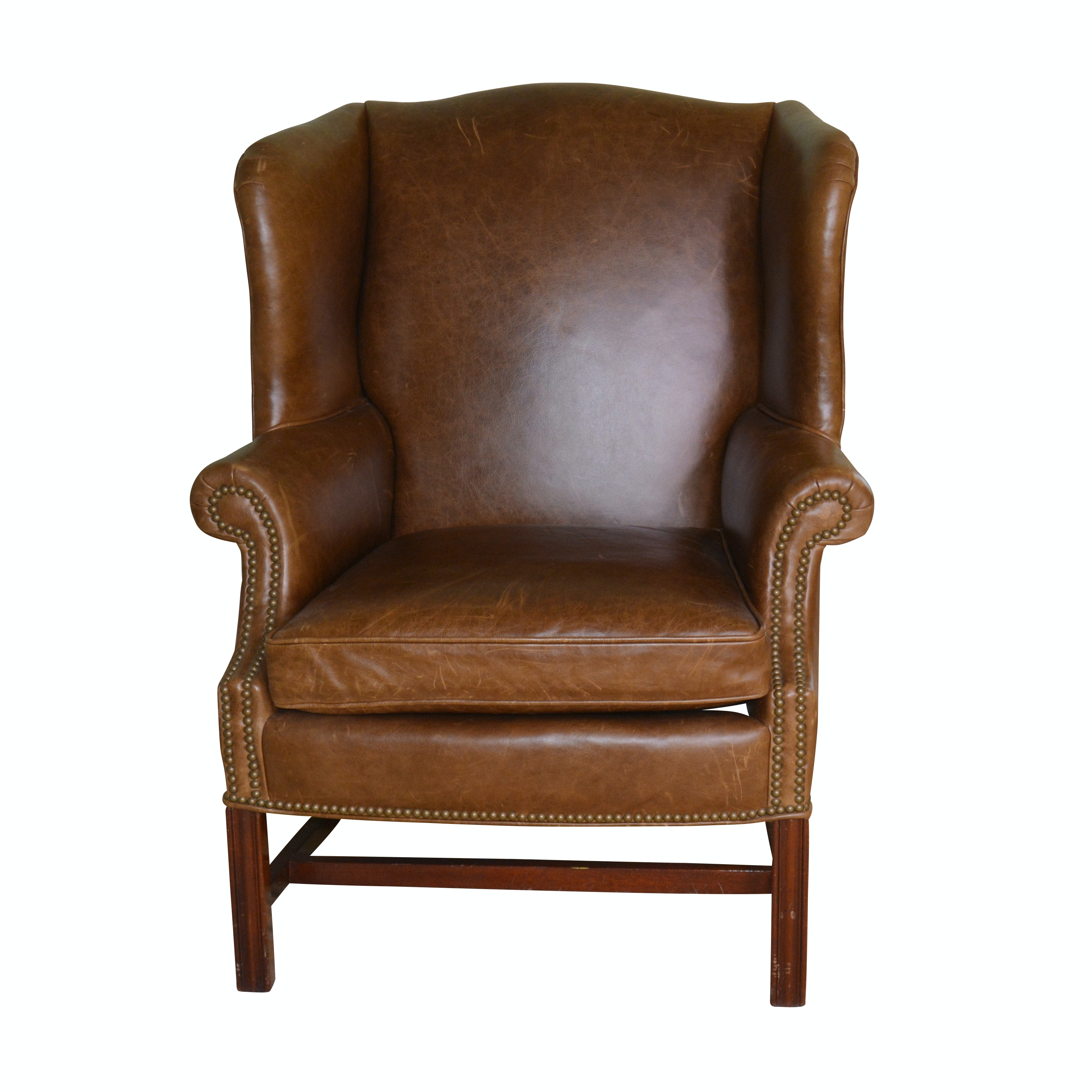 Chippendale Style Leather Wingback Chair, 20th Century