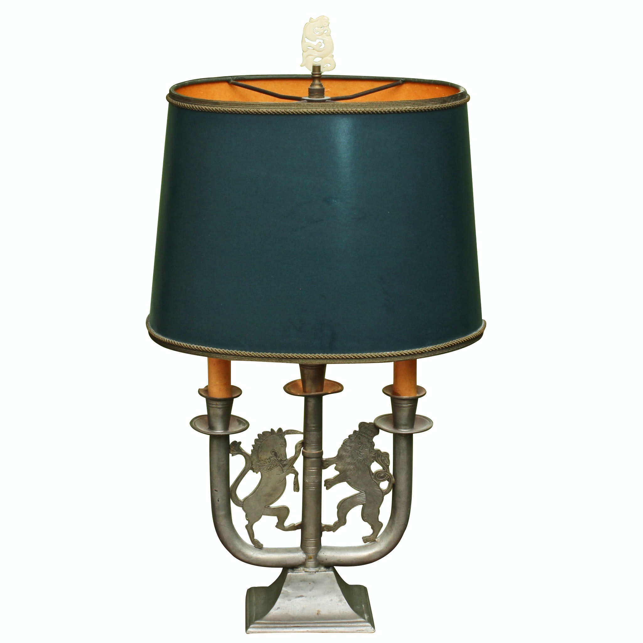 Converted Metal Candelabra Table Lamp with Armorial Figures, Mid-20th Century