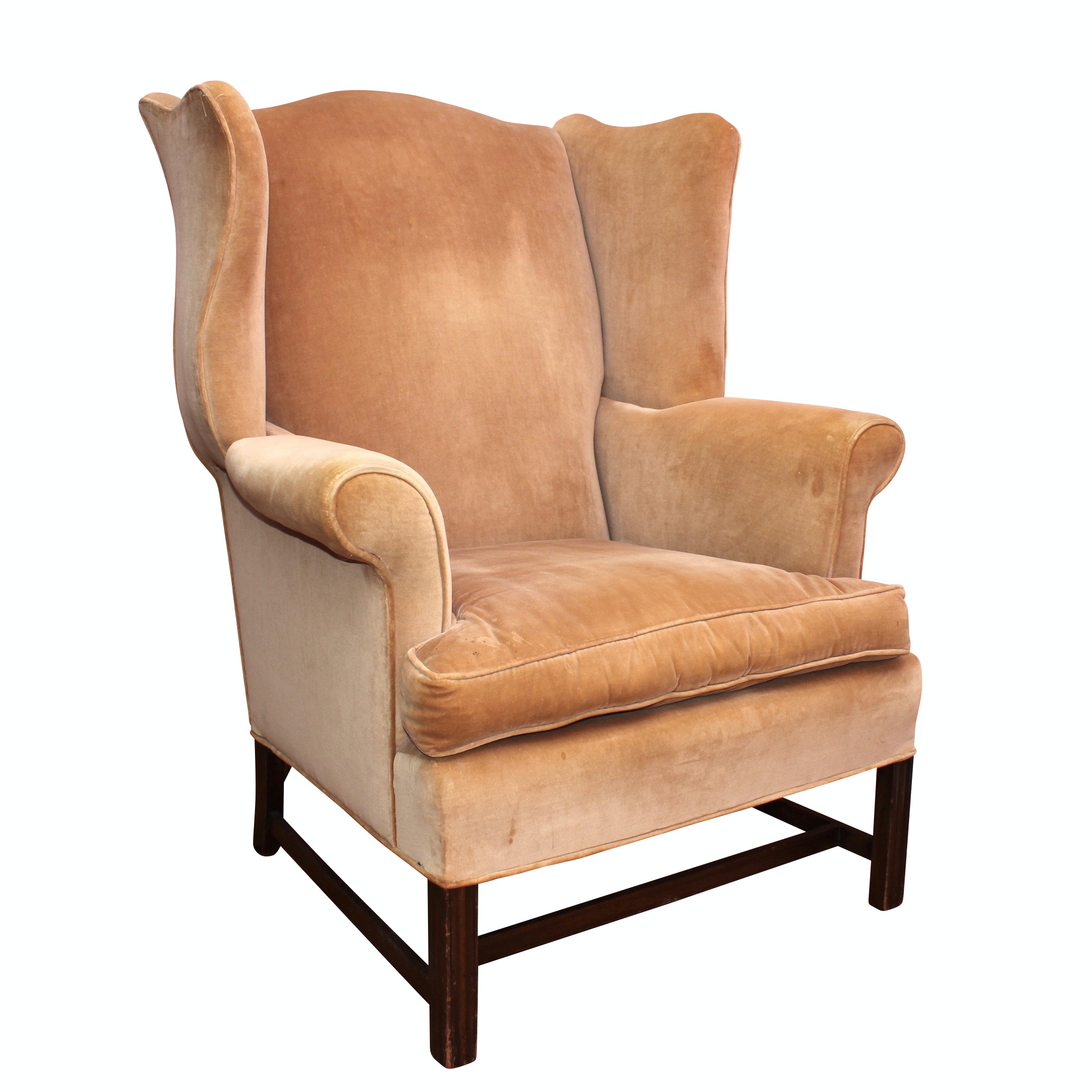 Queen Anne Upholstered Wingback Arm Chair, Antique