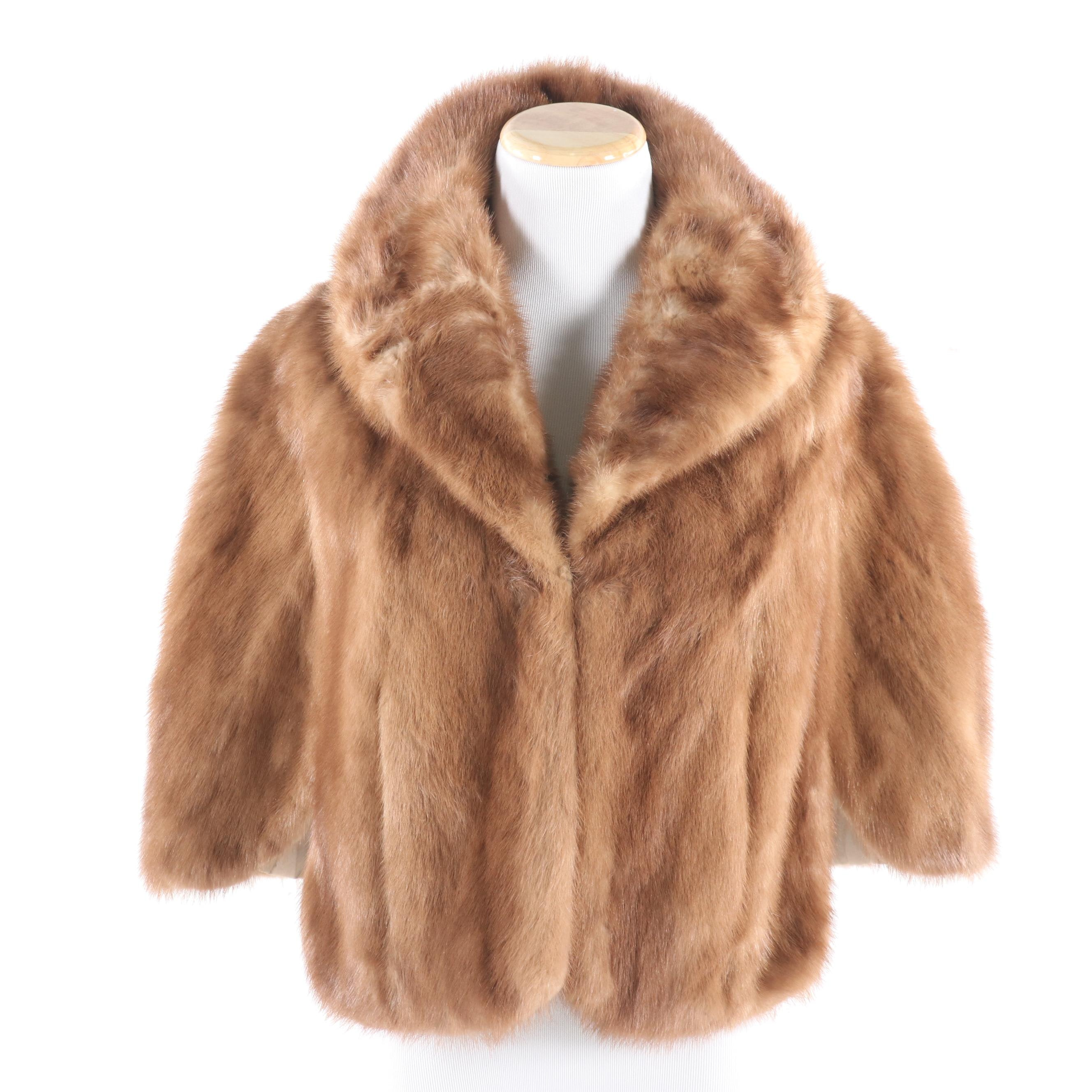 Natural Mink Fur Capelet by Three Rivers Furs, Mid-20th Century